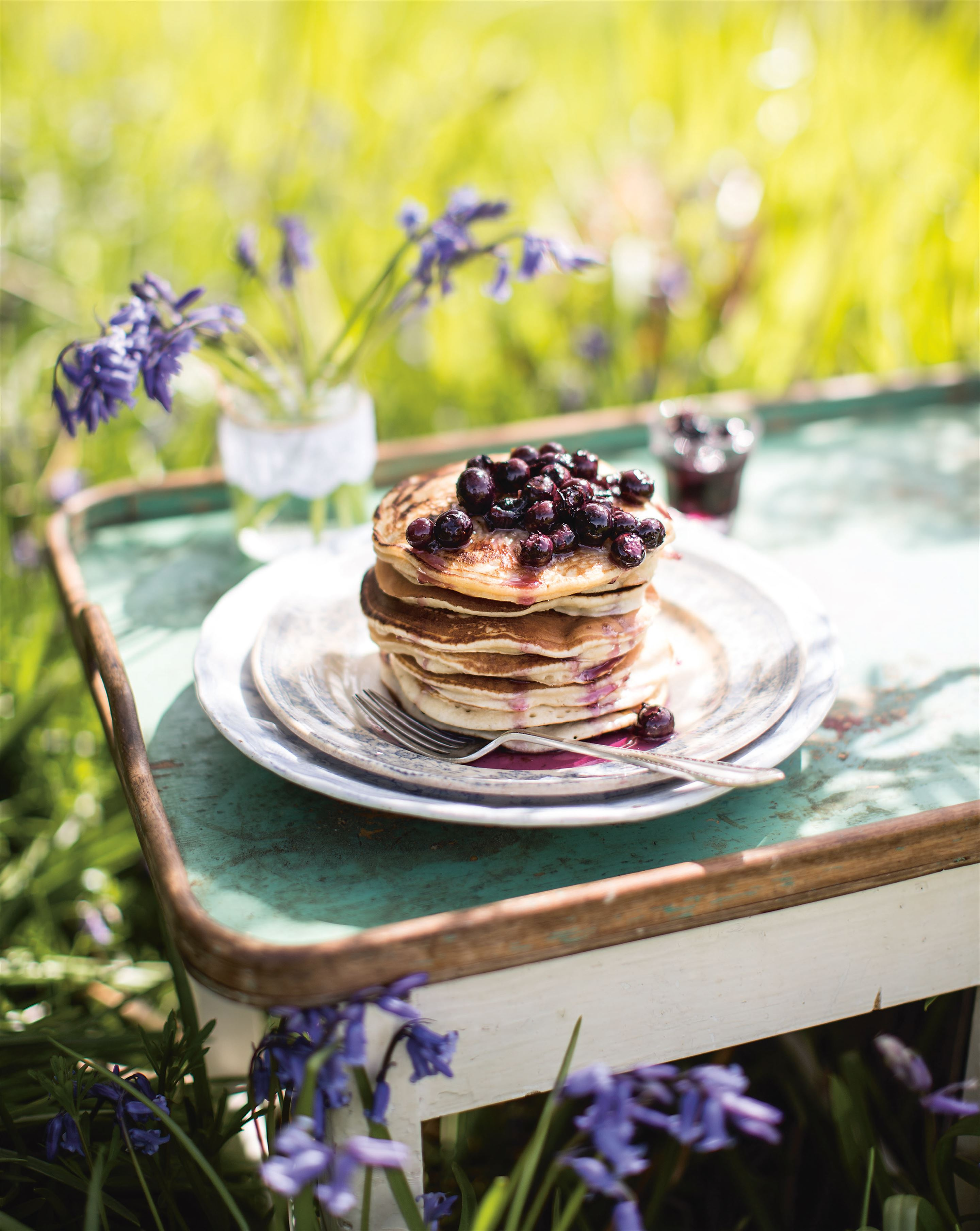 Blueberry pancake stack