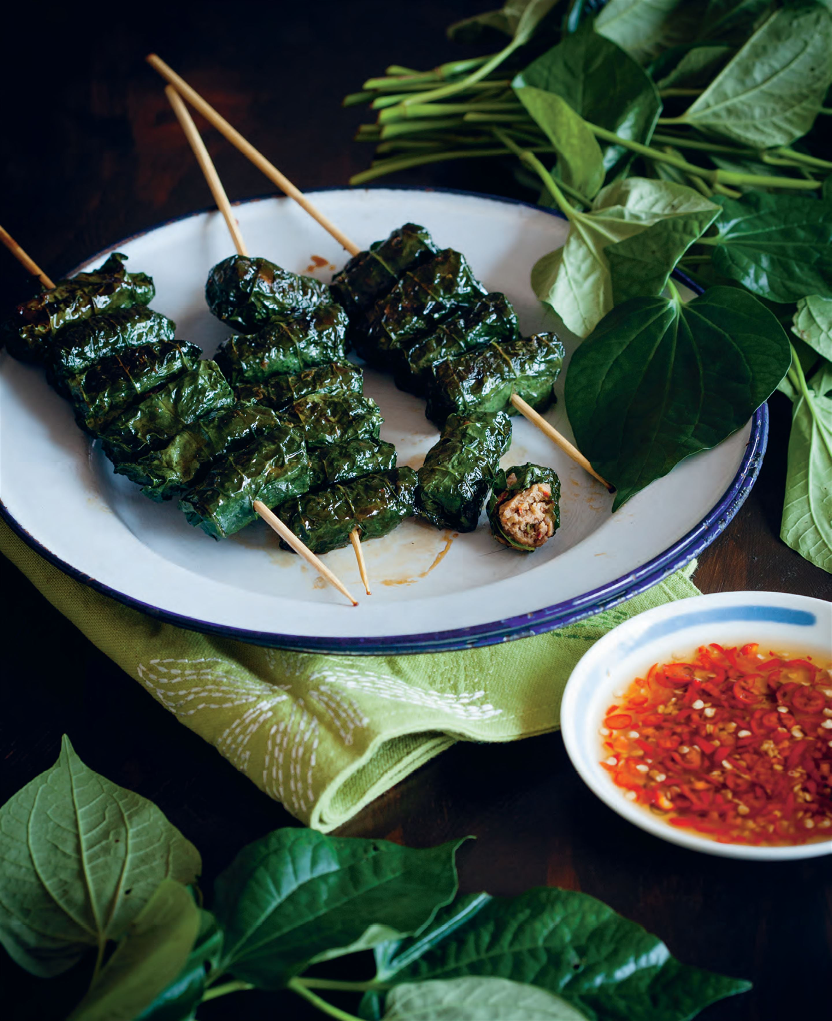 Barbecued beef in betel leaves