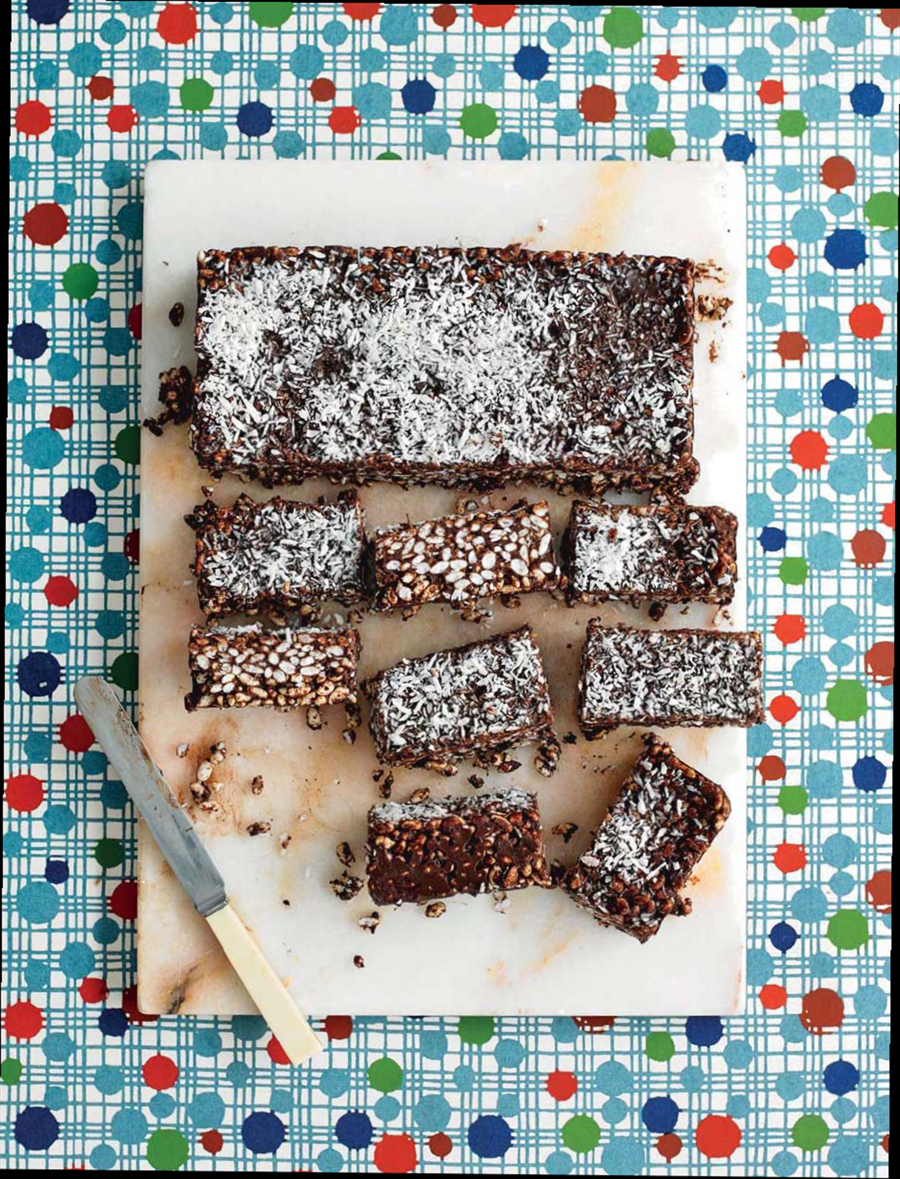 Crispy chocolate & coconut bars