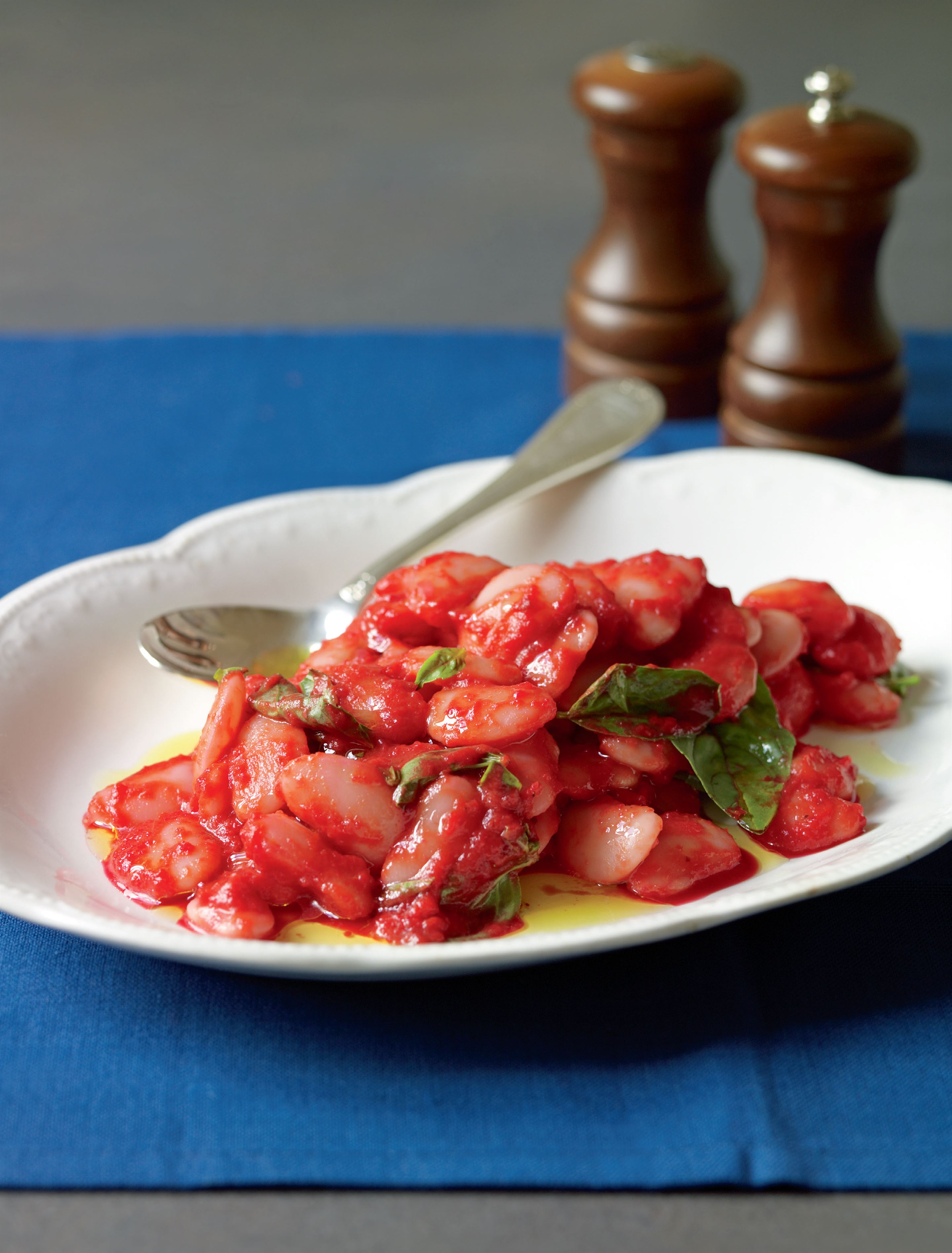 Lima beans in velvety red sauce