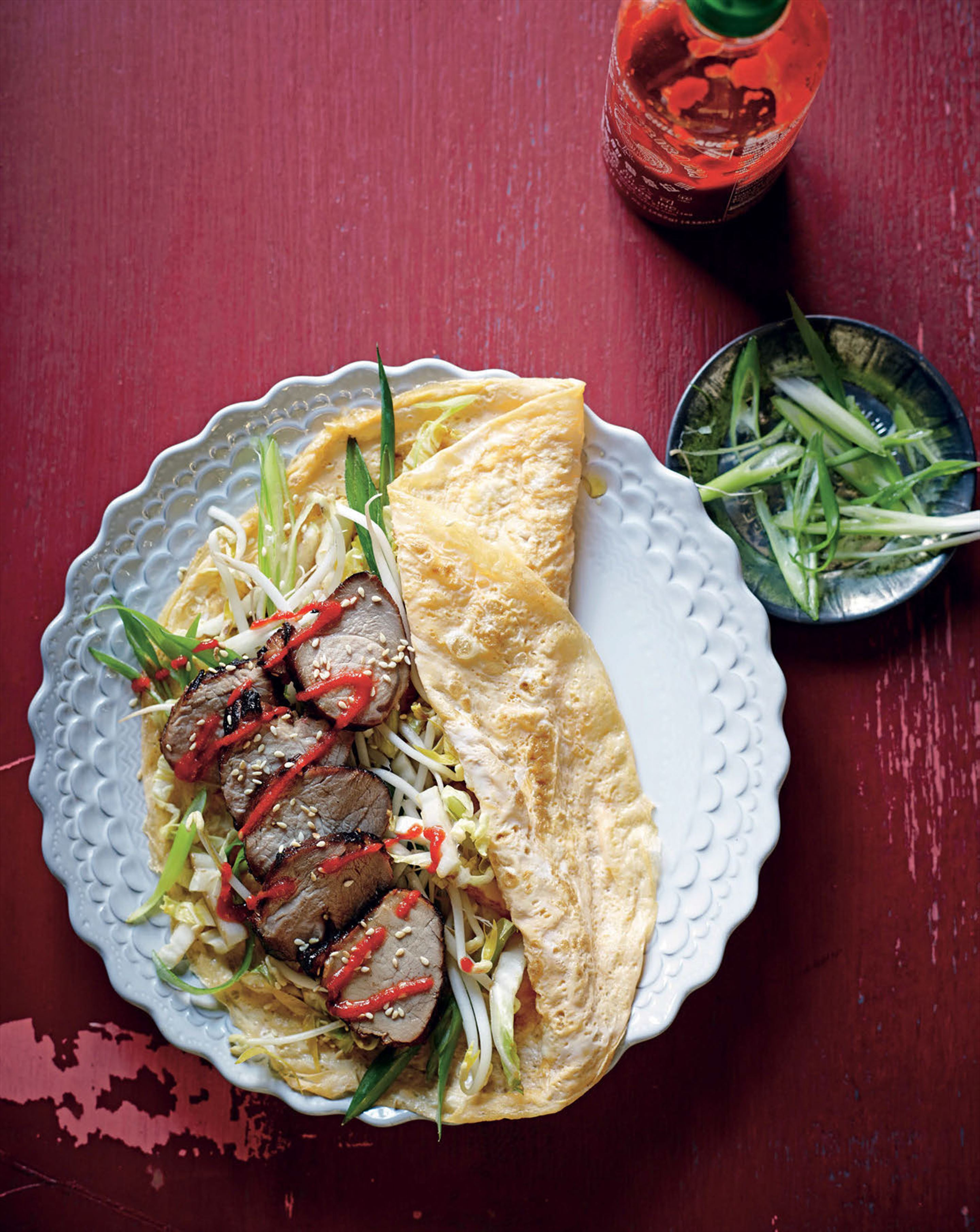 Egg crepes with char siu pork