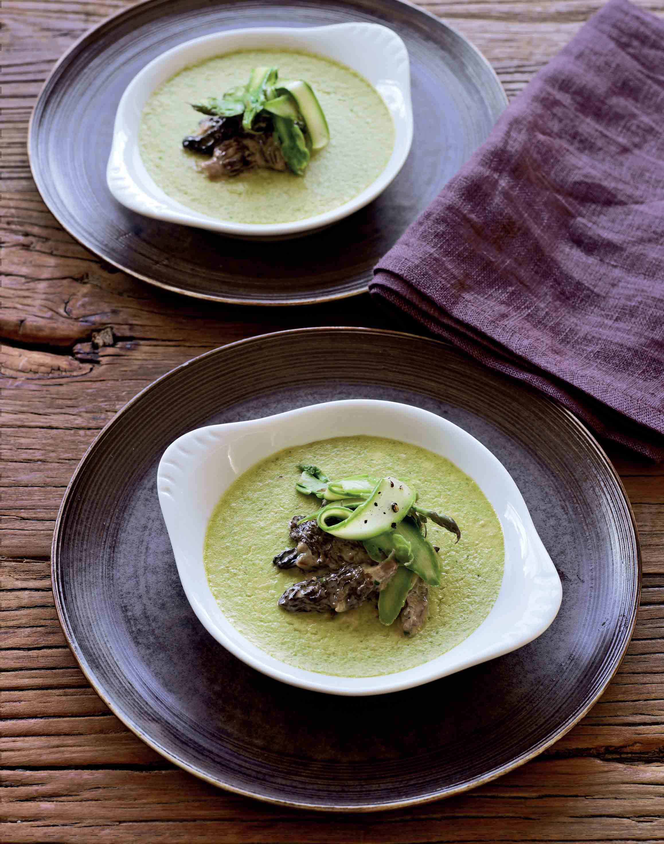 Asparagus custards with creamed morels
