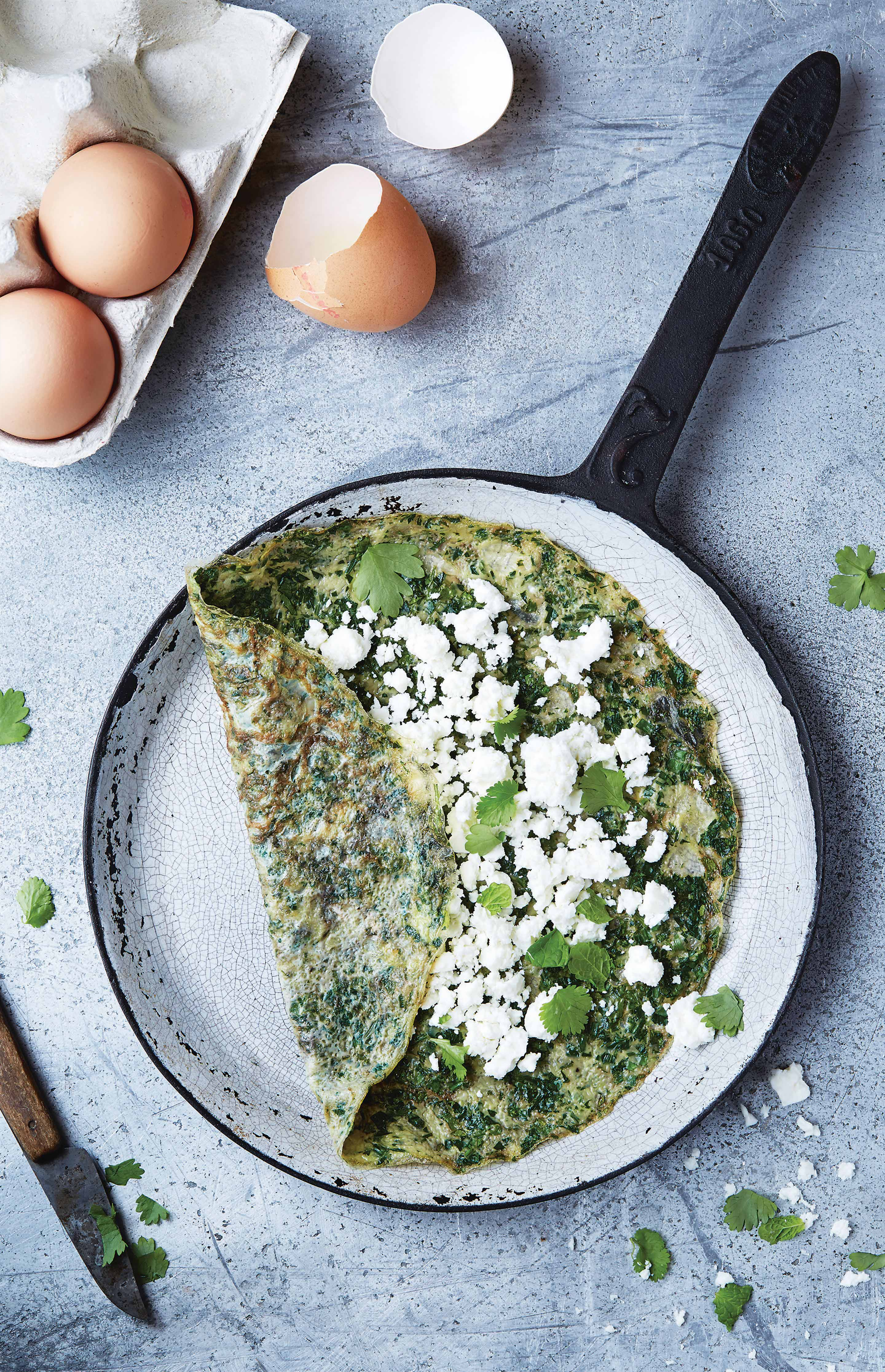 Thin herby omelette with feta and coriander