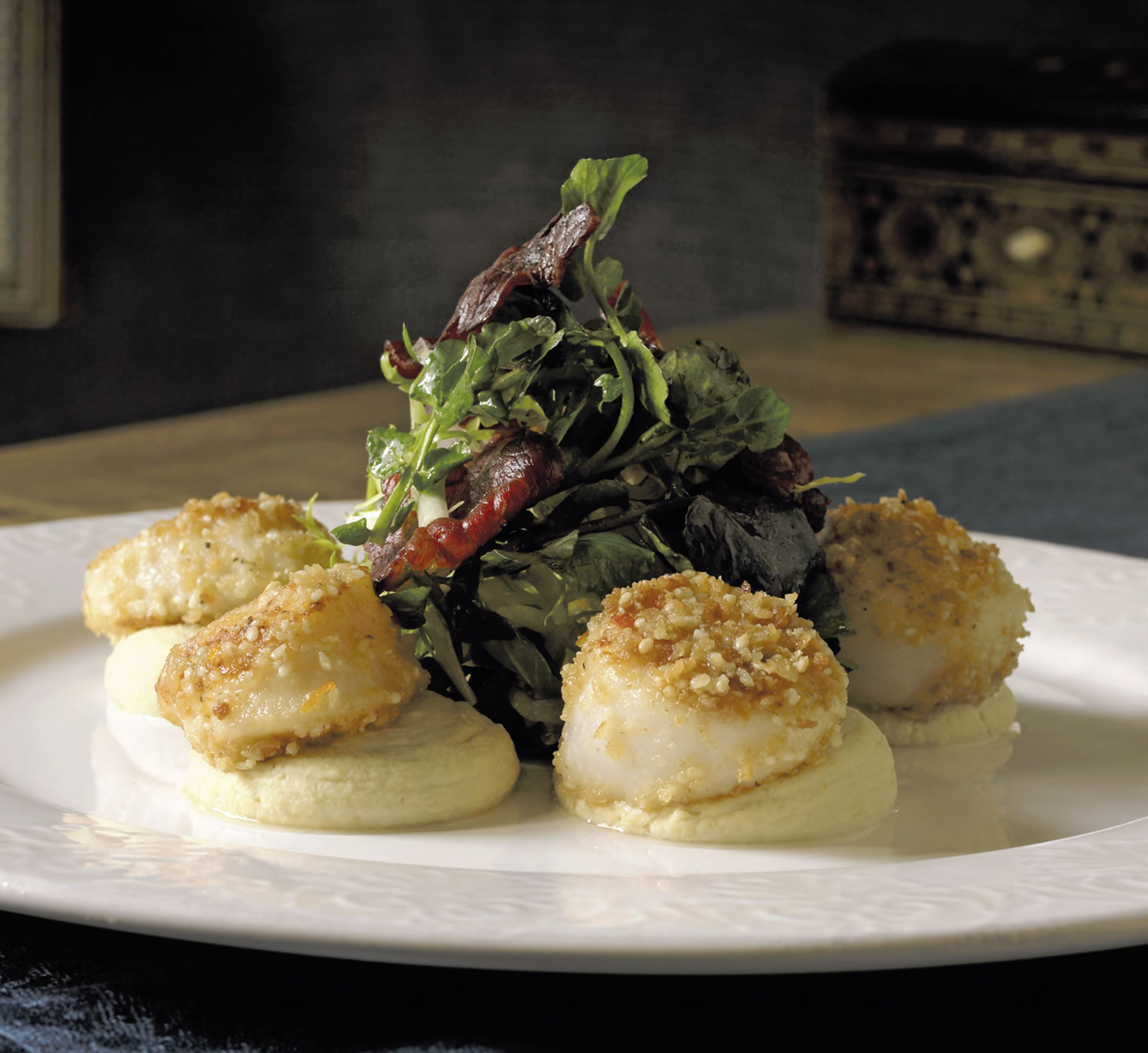 Seared scallops with almond crumbs, hummus and crisp armenian air-dried beef