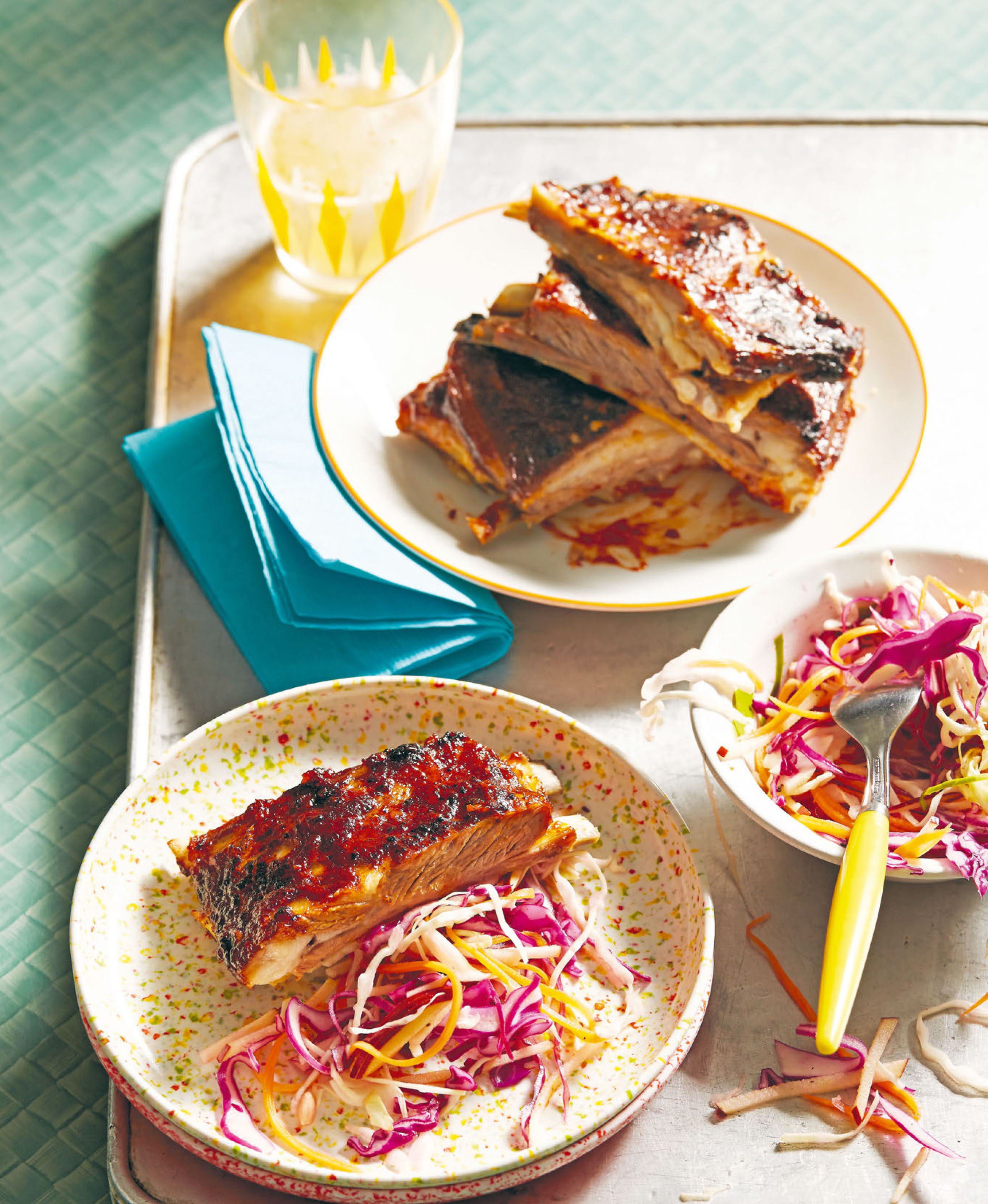 Lamb ribs with apple slaw