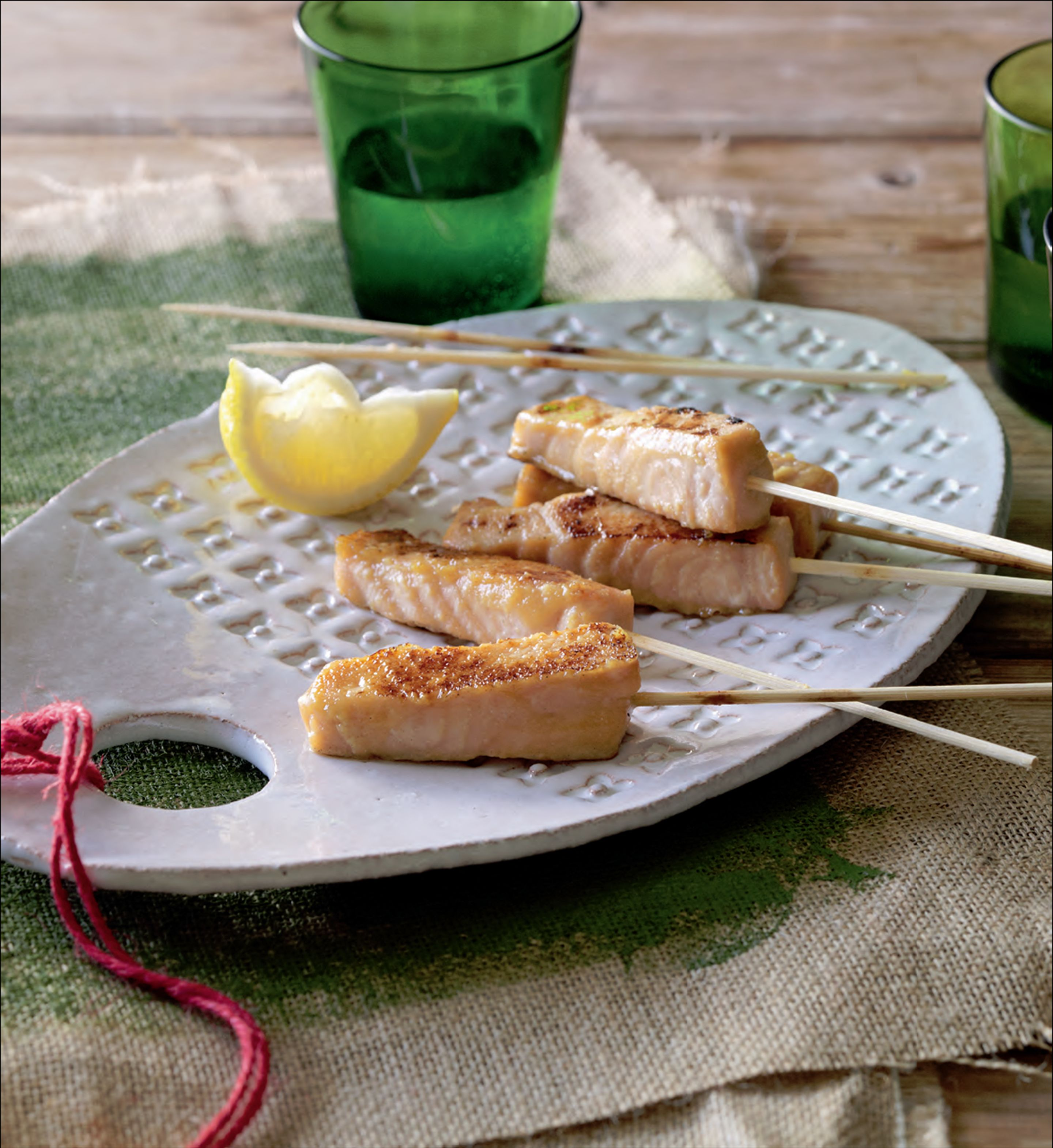 Miso-glazed salmon skewers