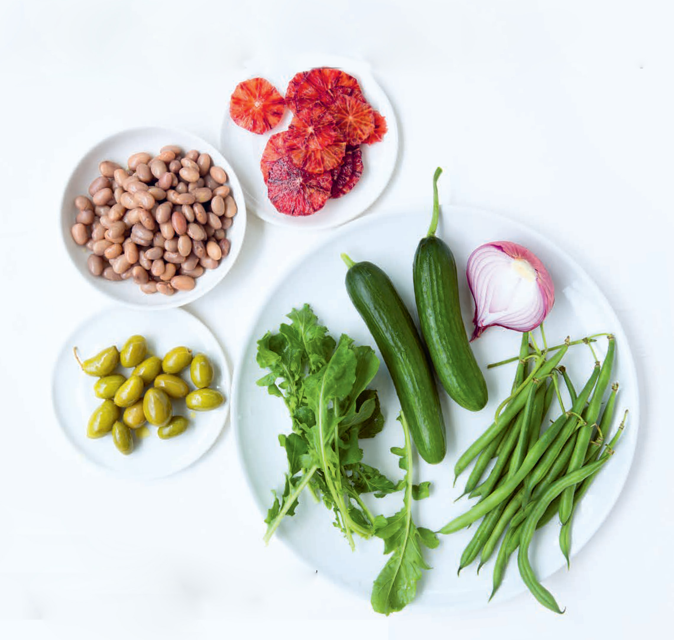 Borlotti beans with green vegetables