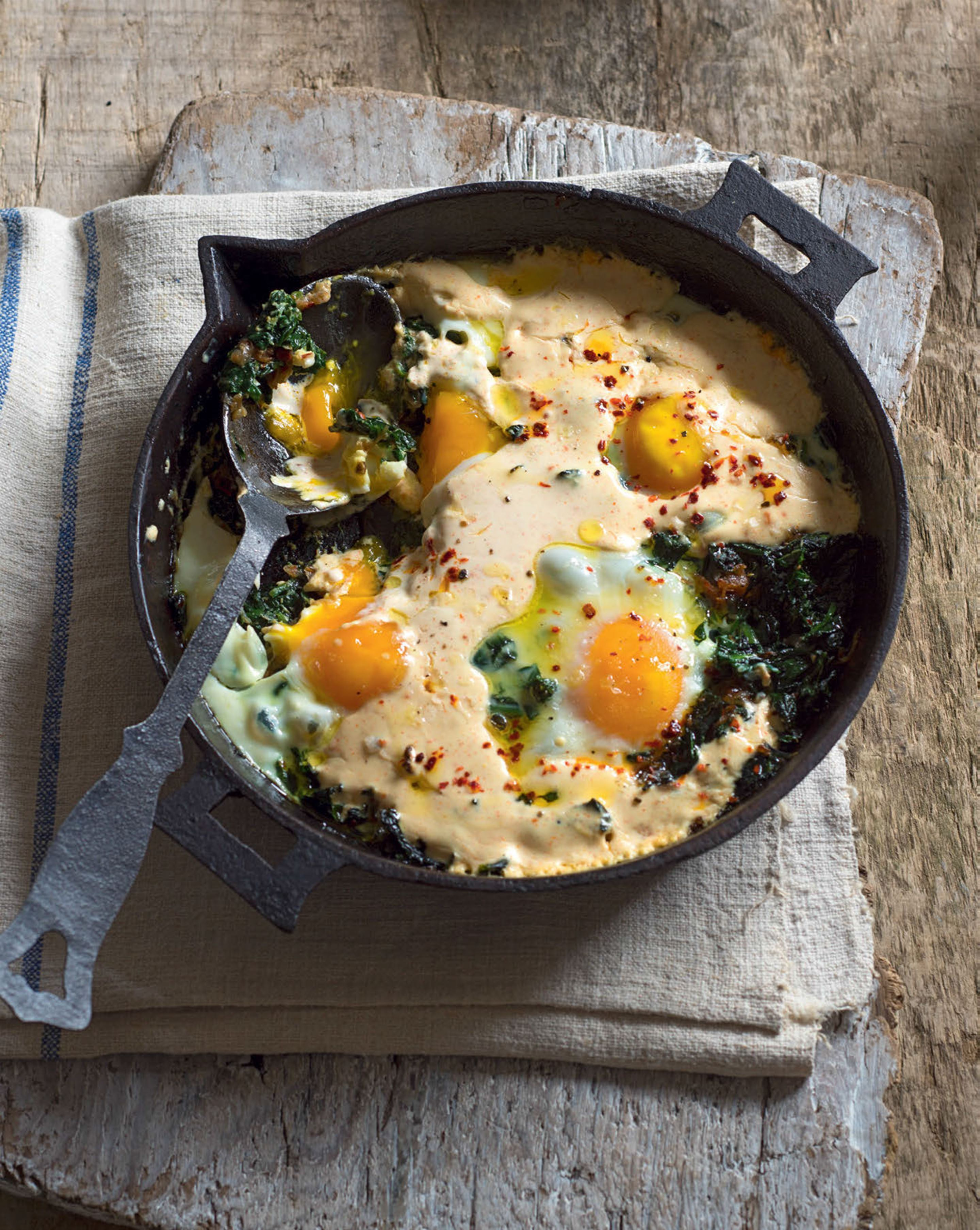 Turkish eggs with spinach, chilli & yoghurt cream