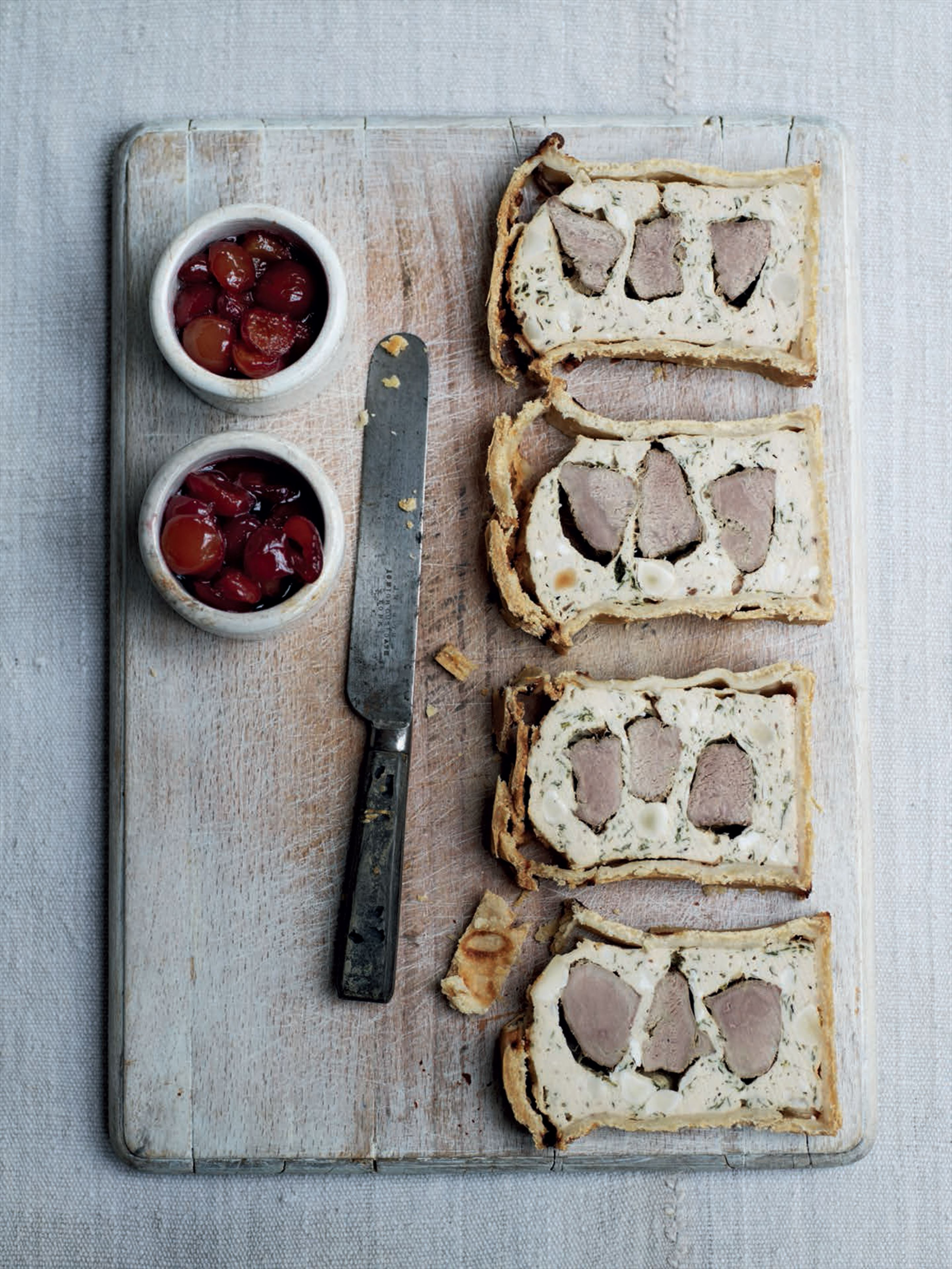 Duck and chicken pie with soused cherries