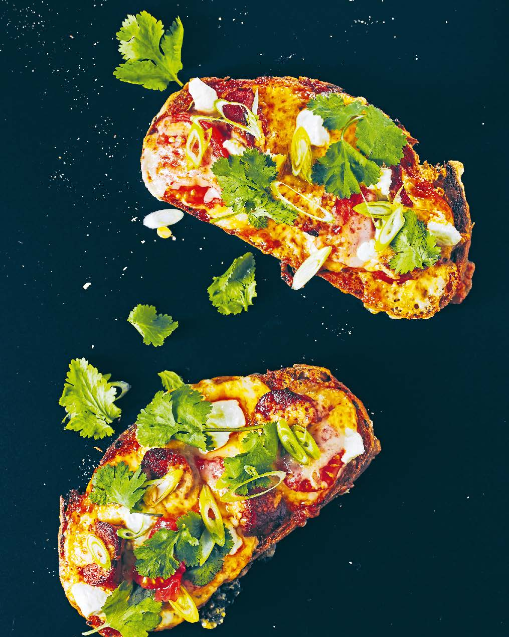My cheese on toast with chorizo, tomato, chilli + coriander