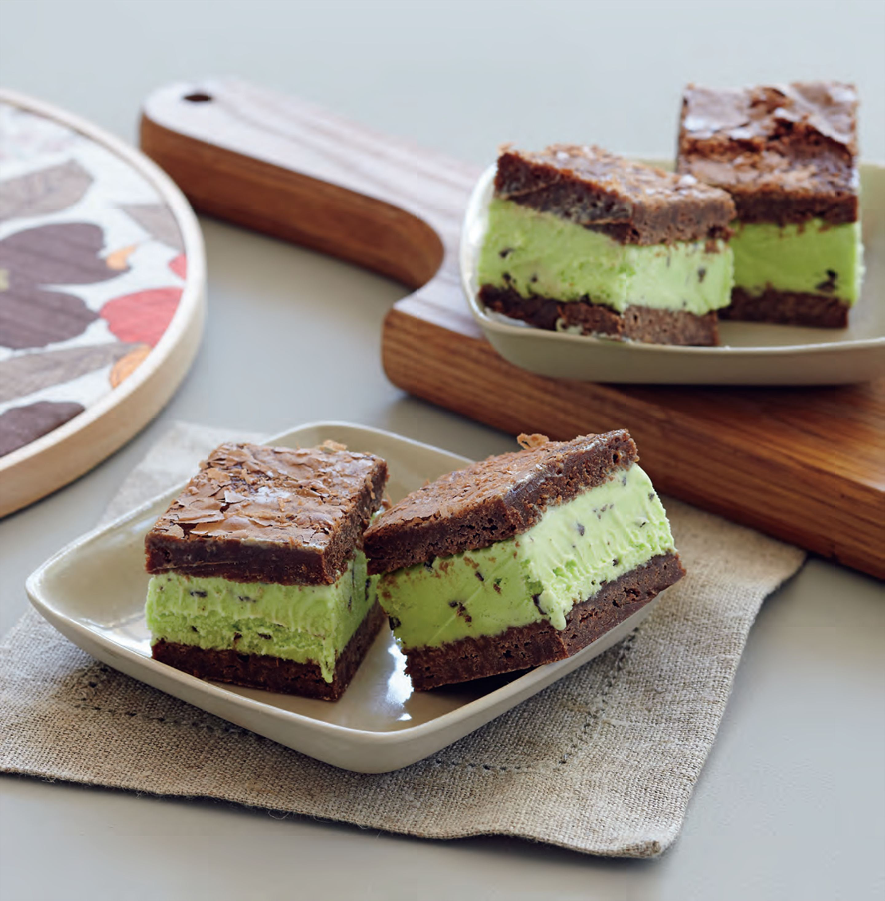 Mint brownie ice-cream sandwiches
