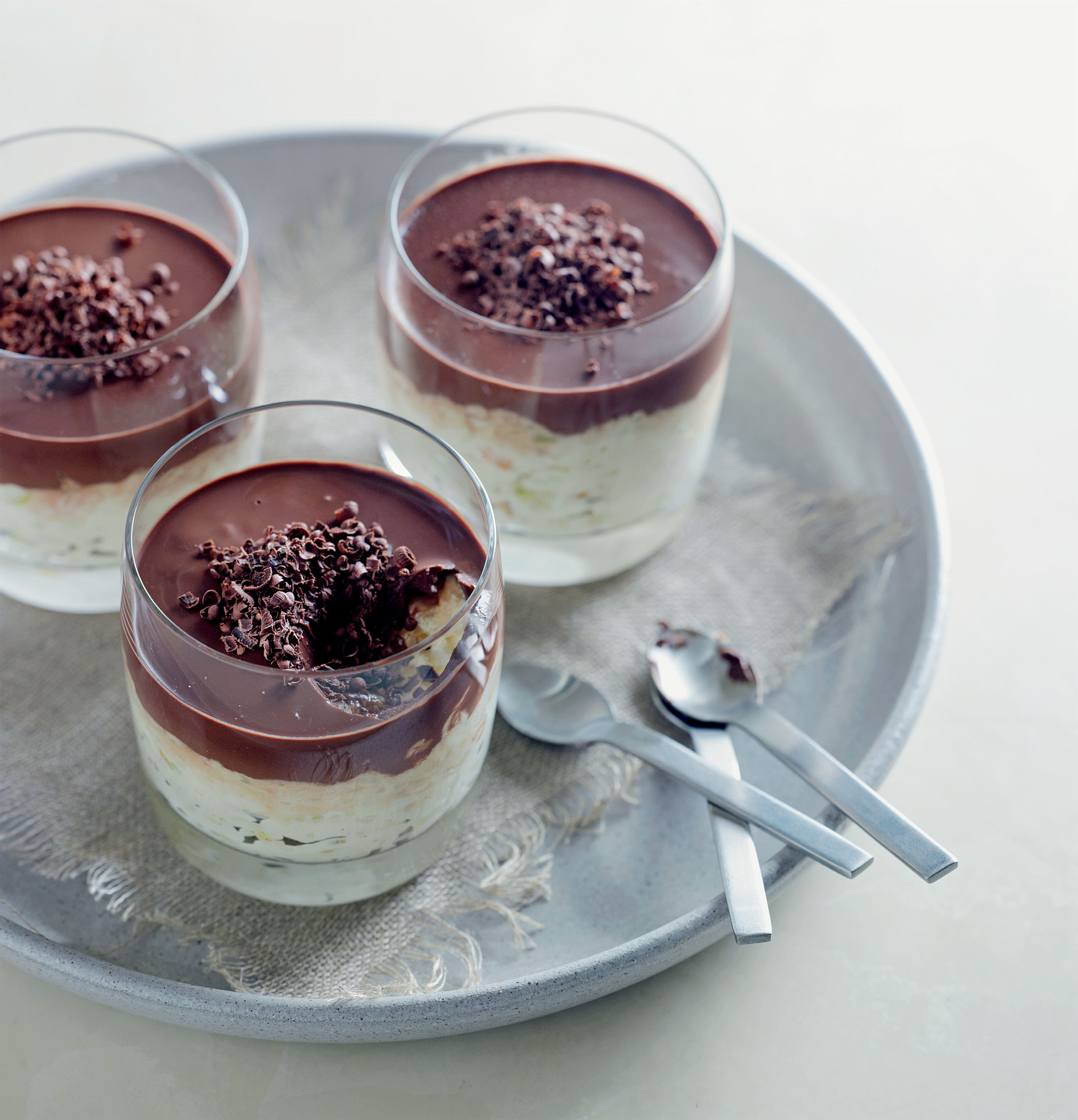Rice pudding with glacé fruits and chocolate cream