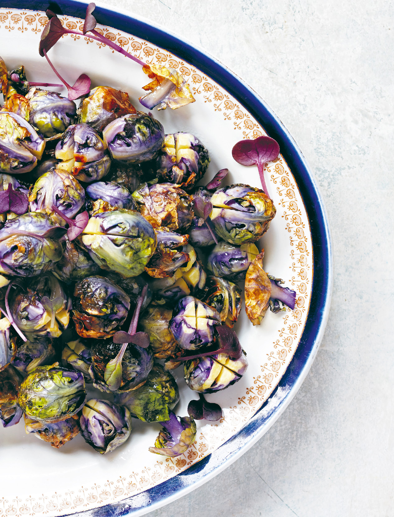 Roasted brussels sprouts with sunflower seed purée