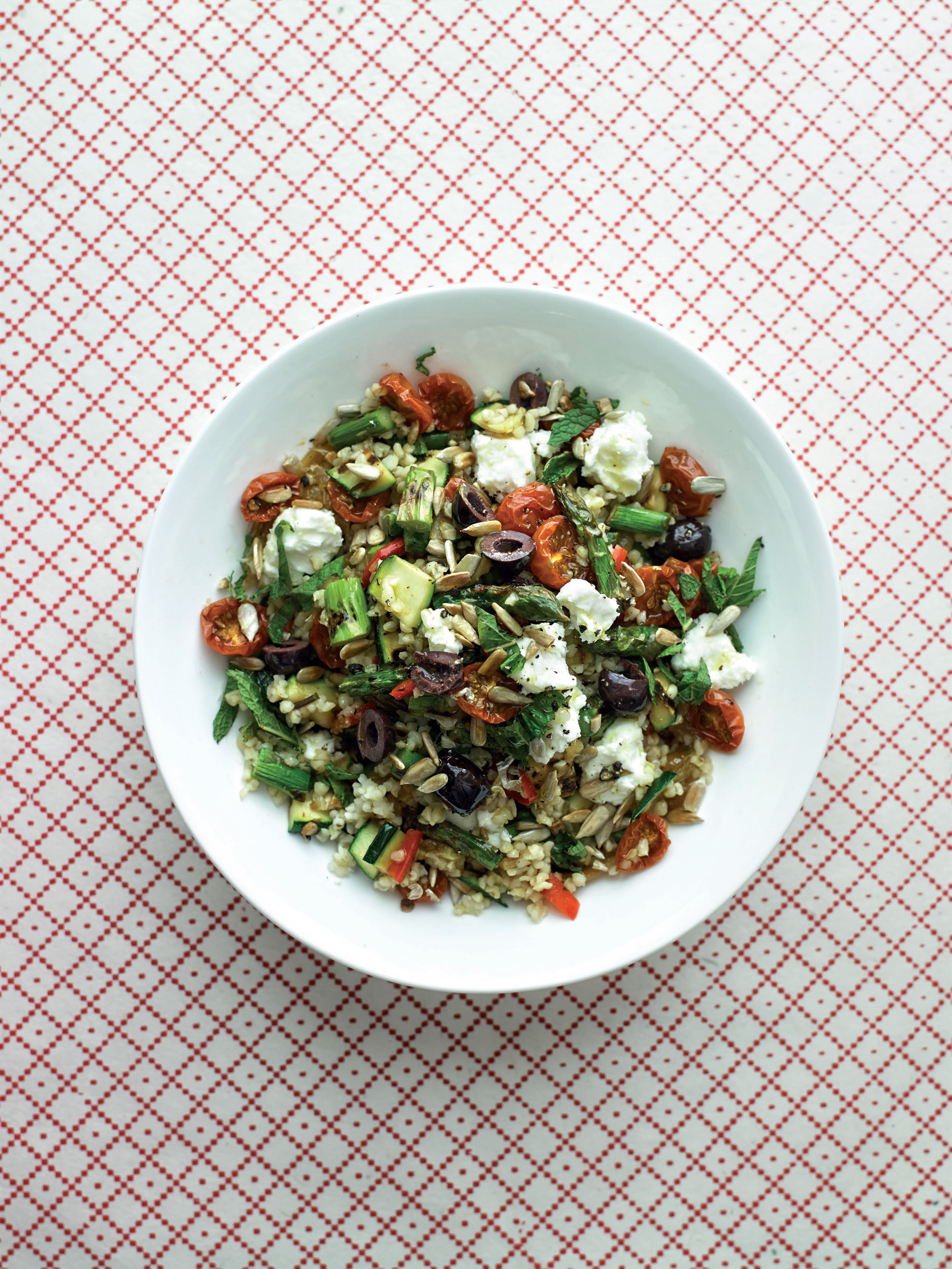 Bulgar and chargrilled vegetable salad with onion jam