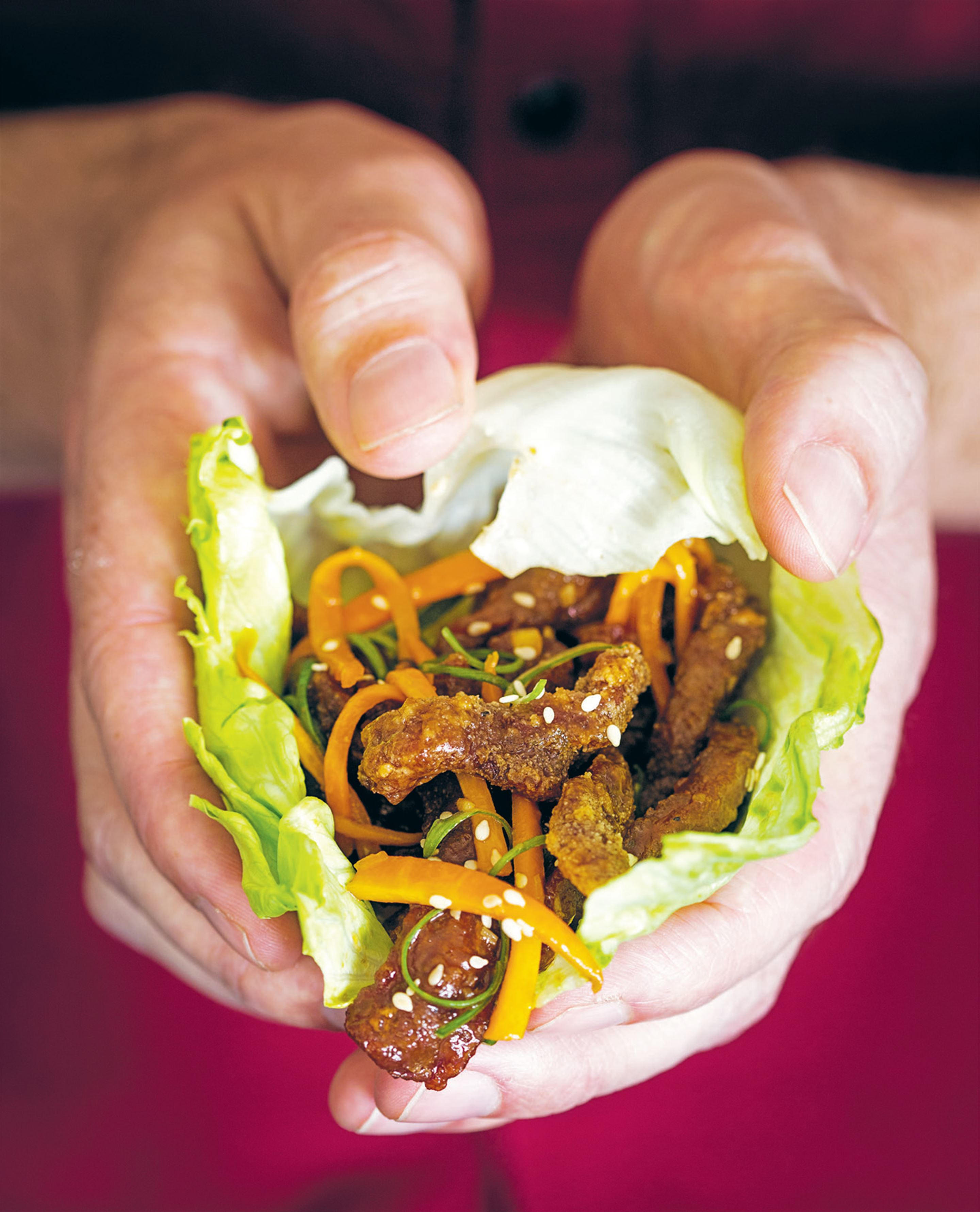 Rainbow steak in lettuce cups