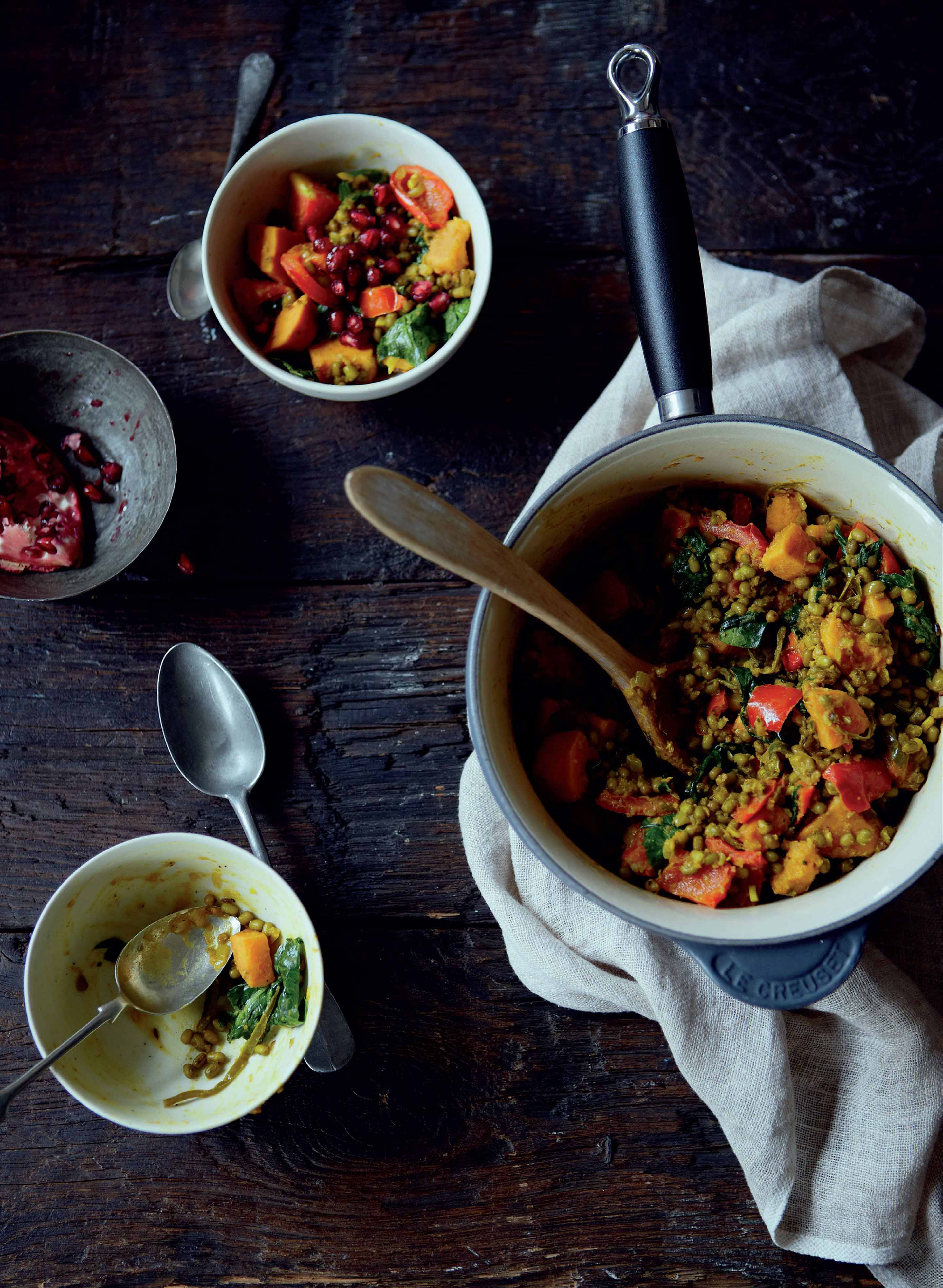Mung bean, sweet potato and pomegranate casserole