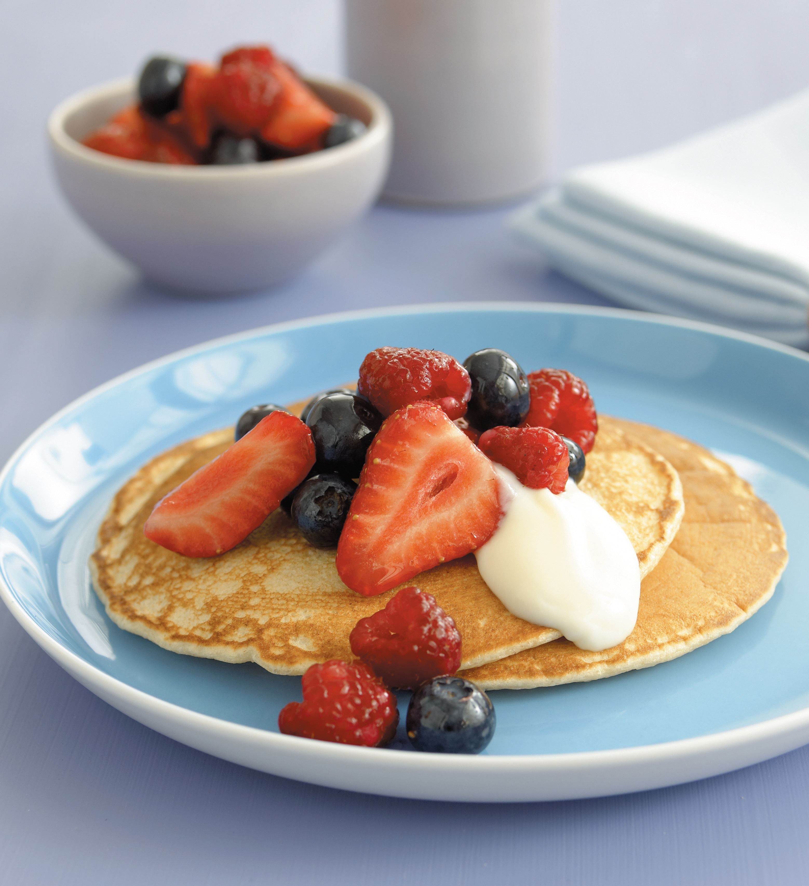 Buckwheat pancakes with mixed summer berries