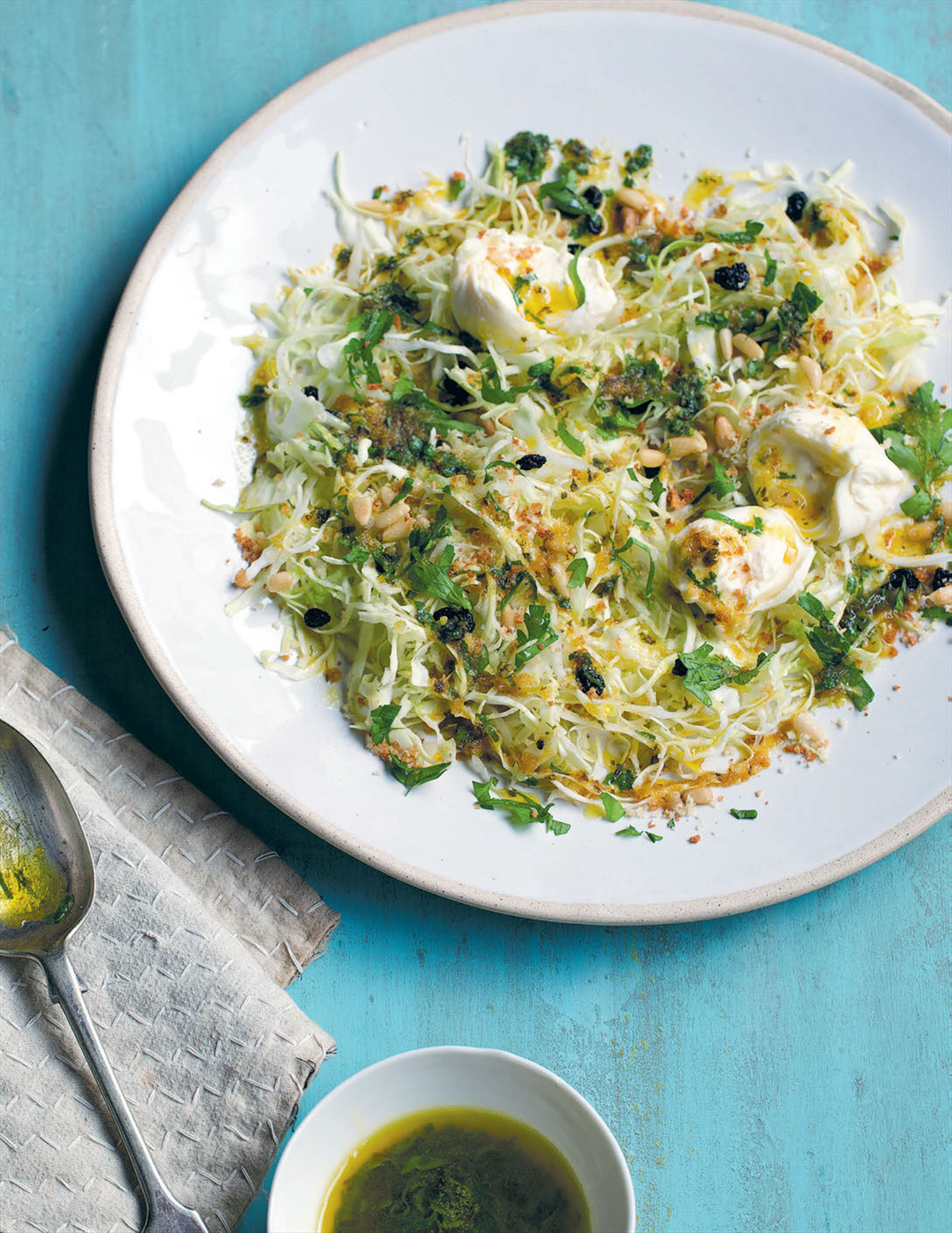 Shredded sugarloaf cabbage with burrata and spiced butter