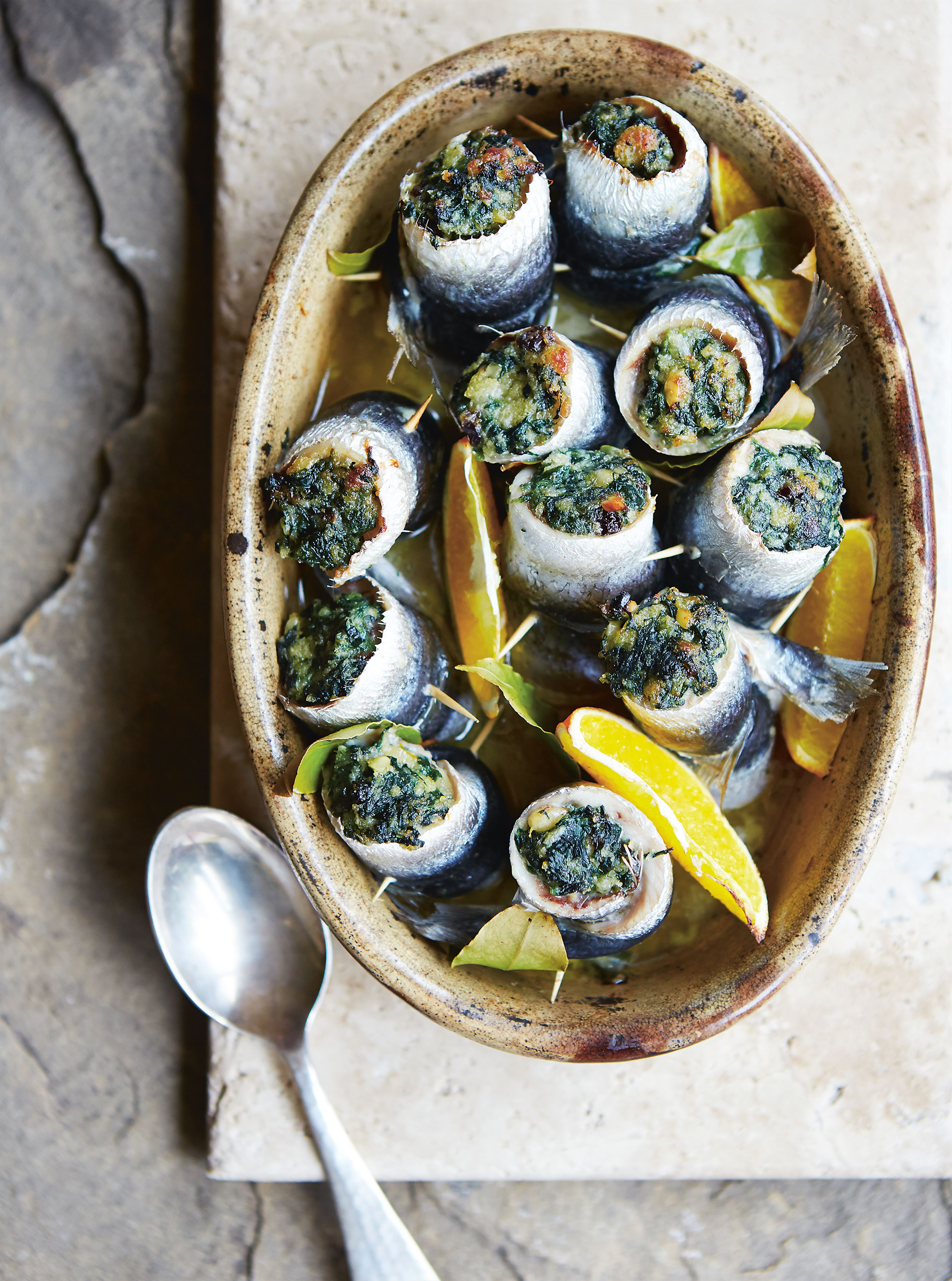 Stuffed sardines with spinach, pine nuts & raisins