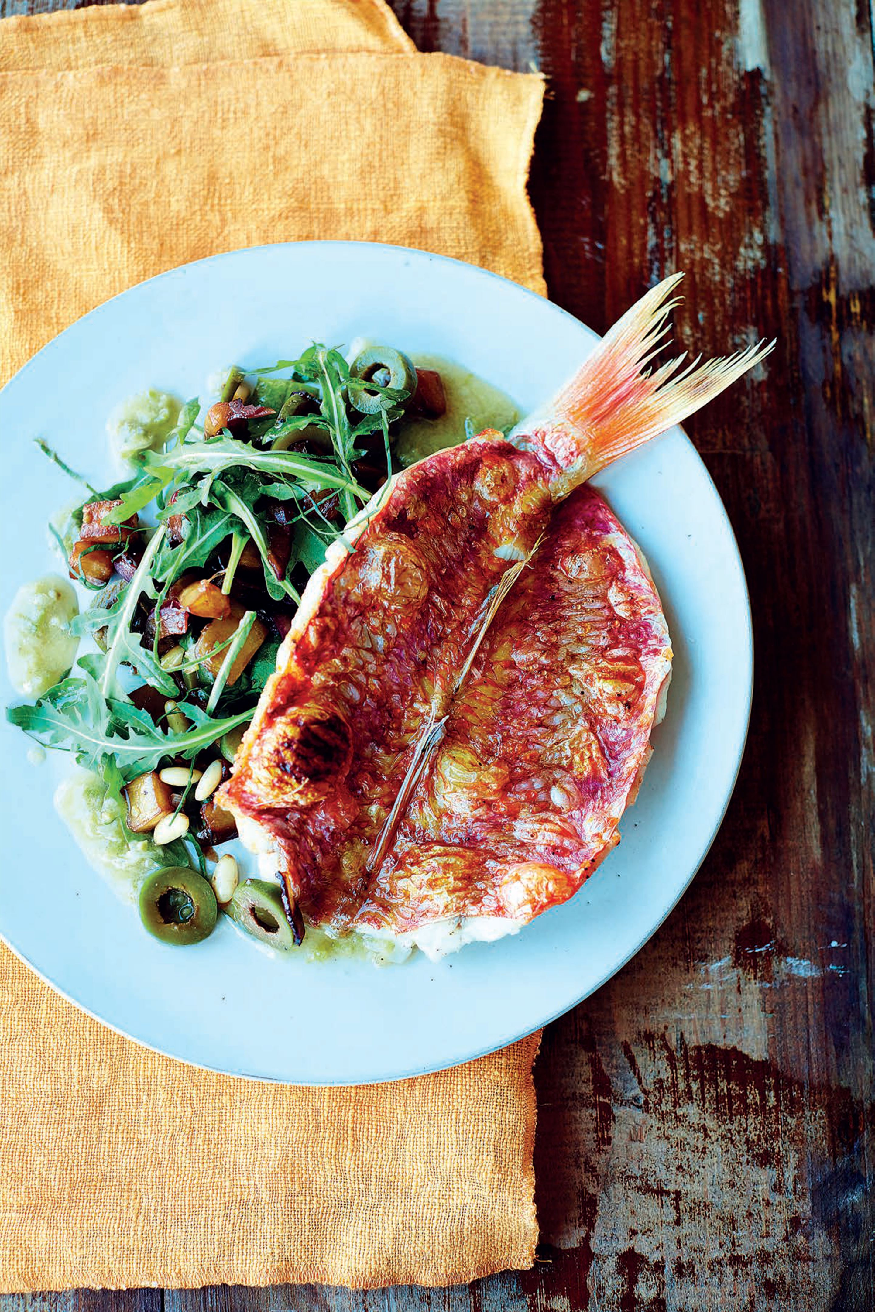 Red mullet and aubergine salad with basil dressing