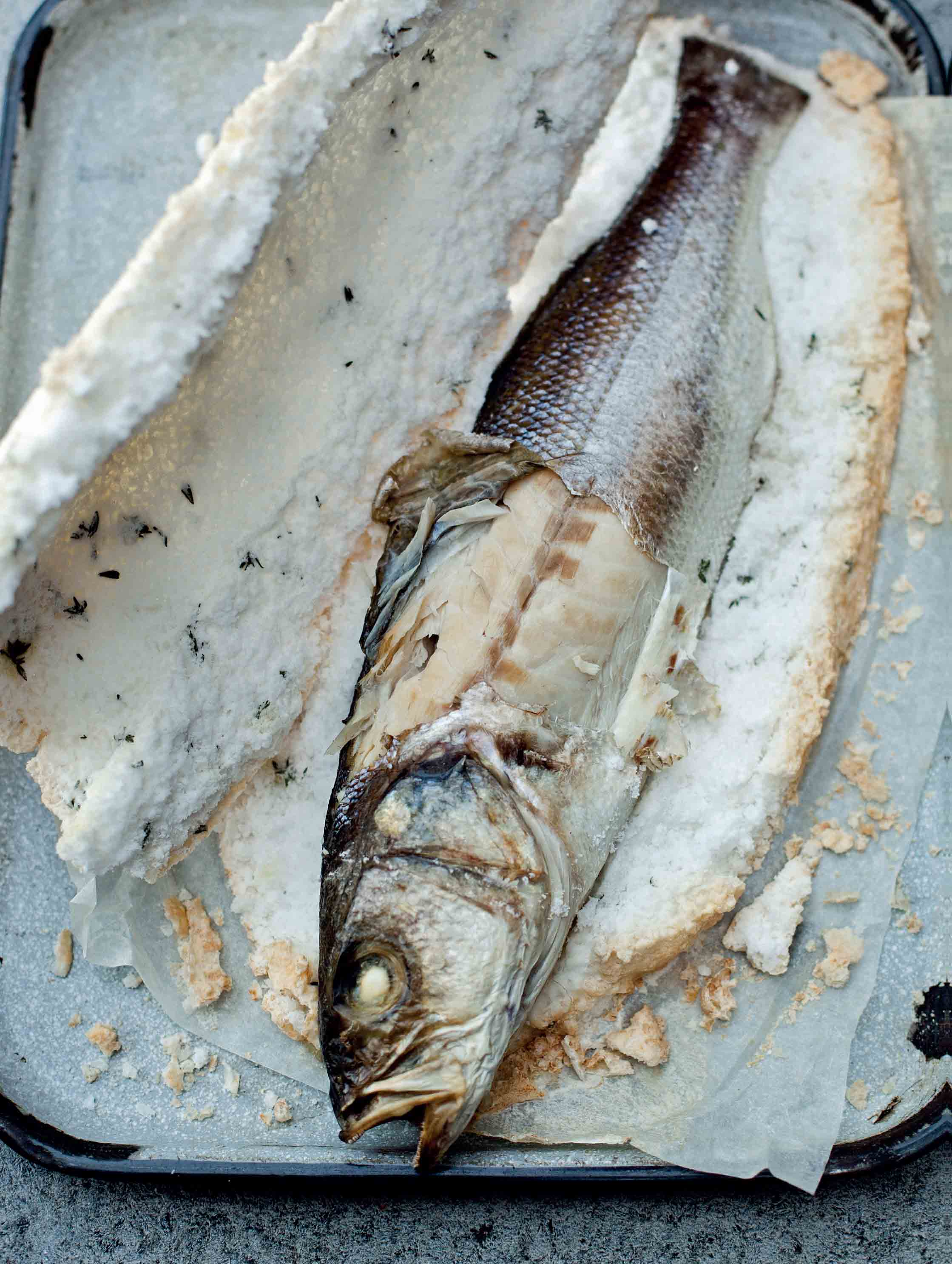 Sea bass baked in a salt crust