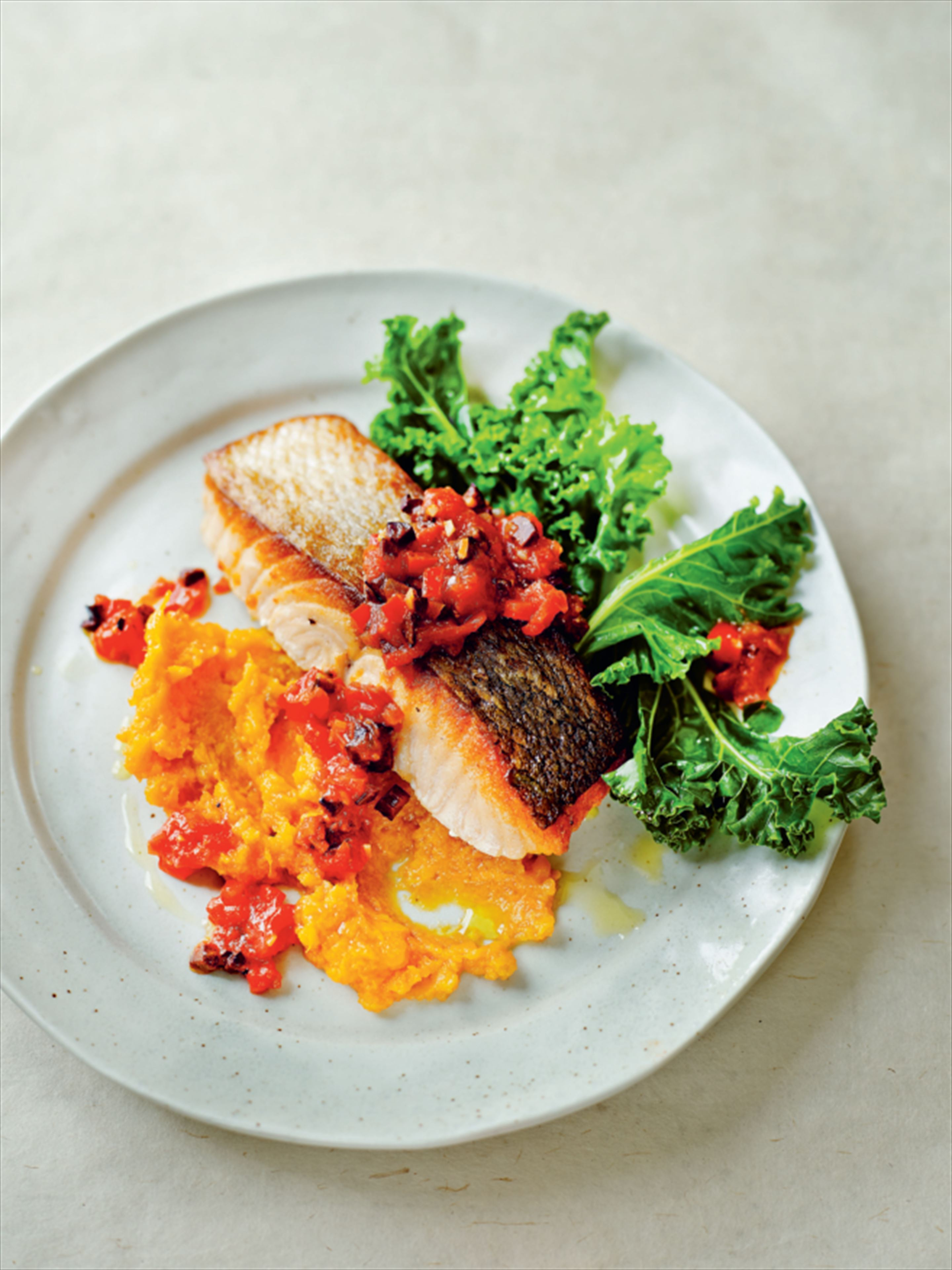 Mediterranean salmon with curly kale and sweet potato mash