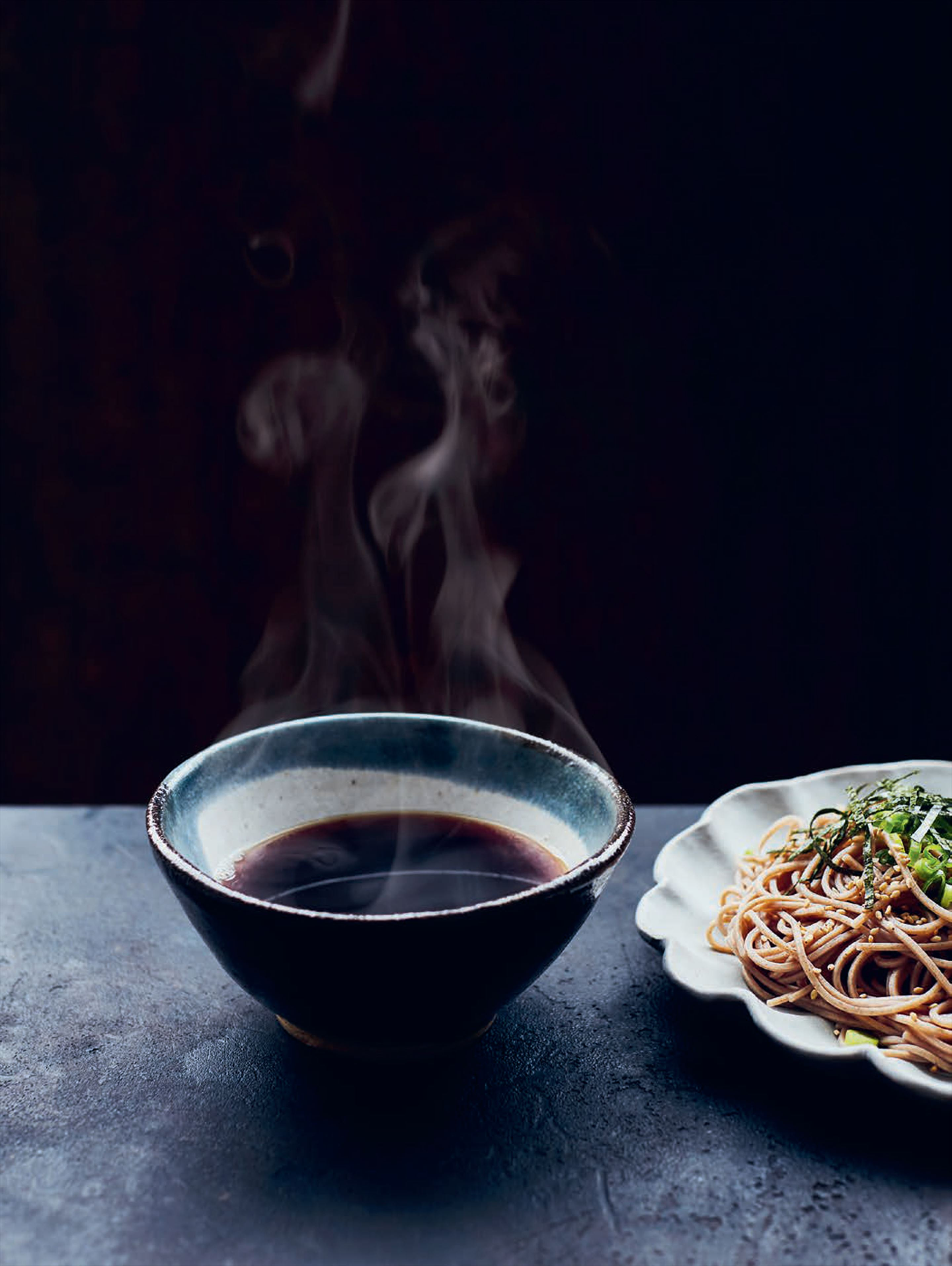 Cold udon or soba with hot dipping sauce