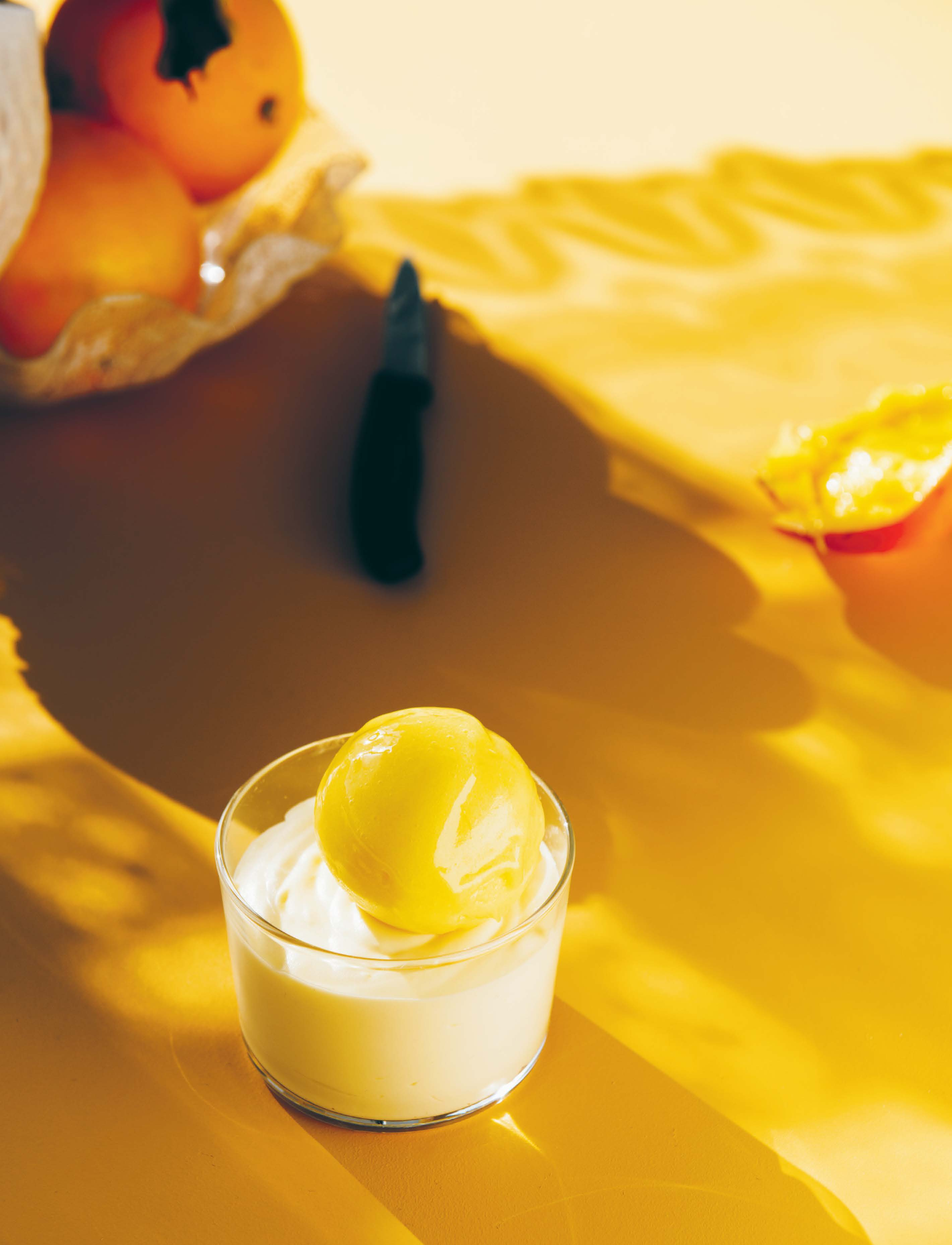 Mango sorbetto with white chocolate mousse