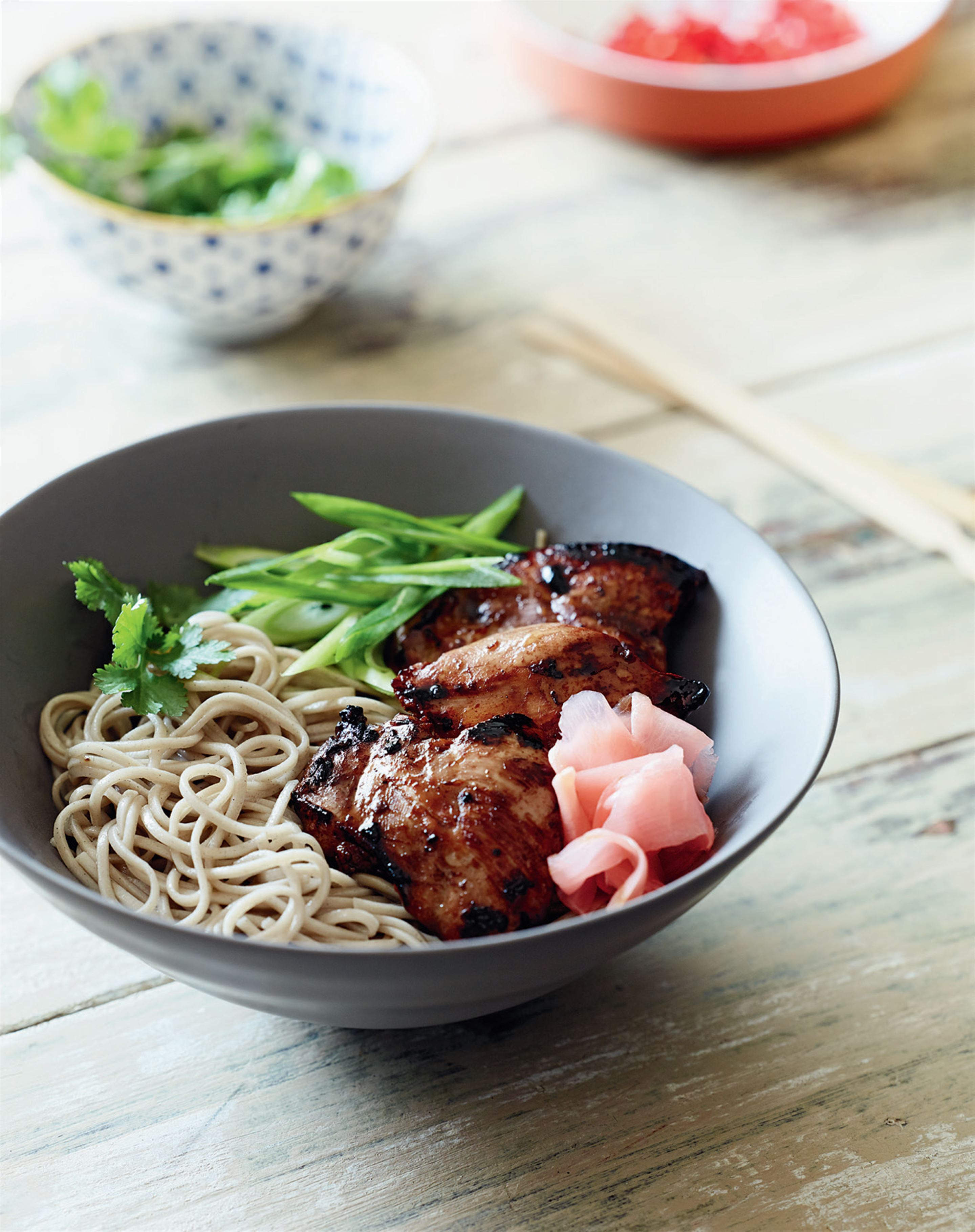 Soy chicken with soba noodles