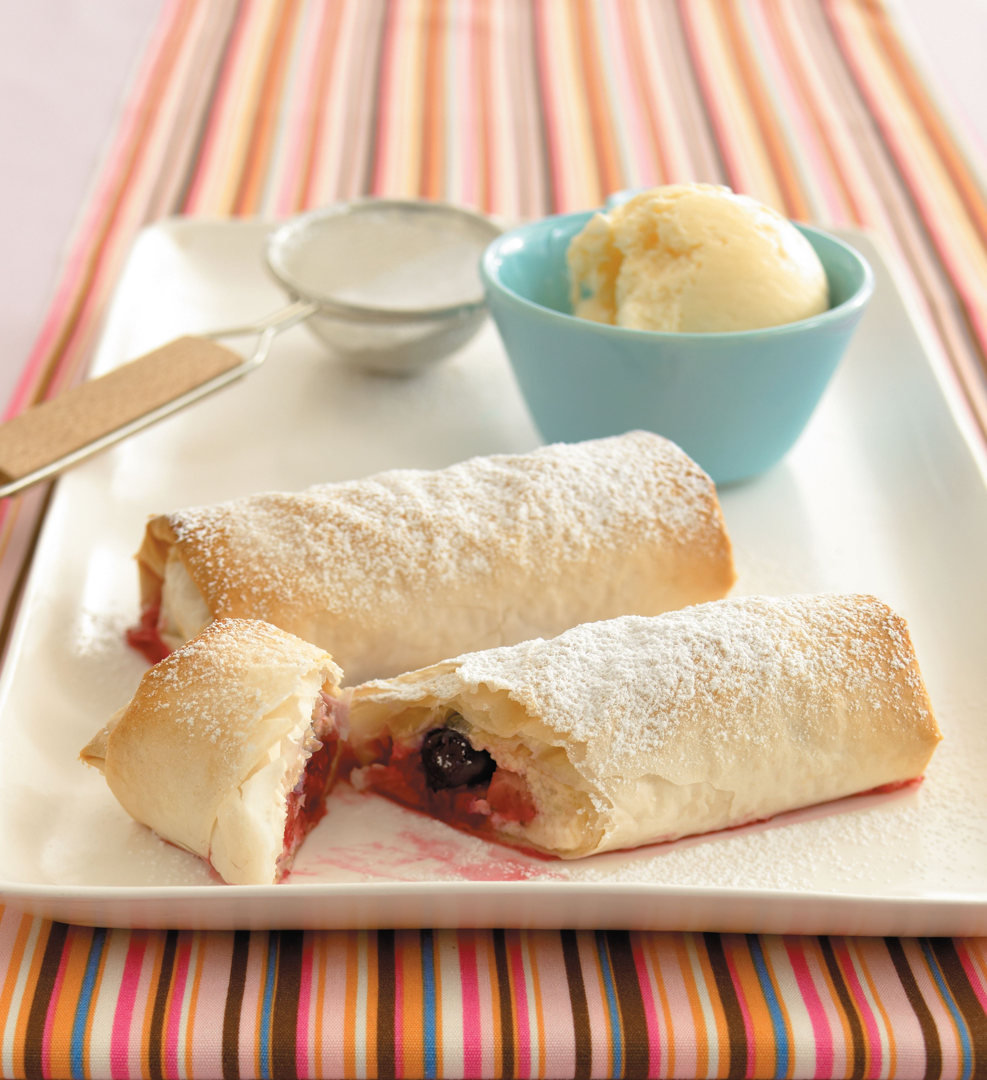 Mixed berry and ricotta strudels