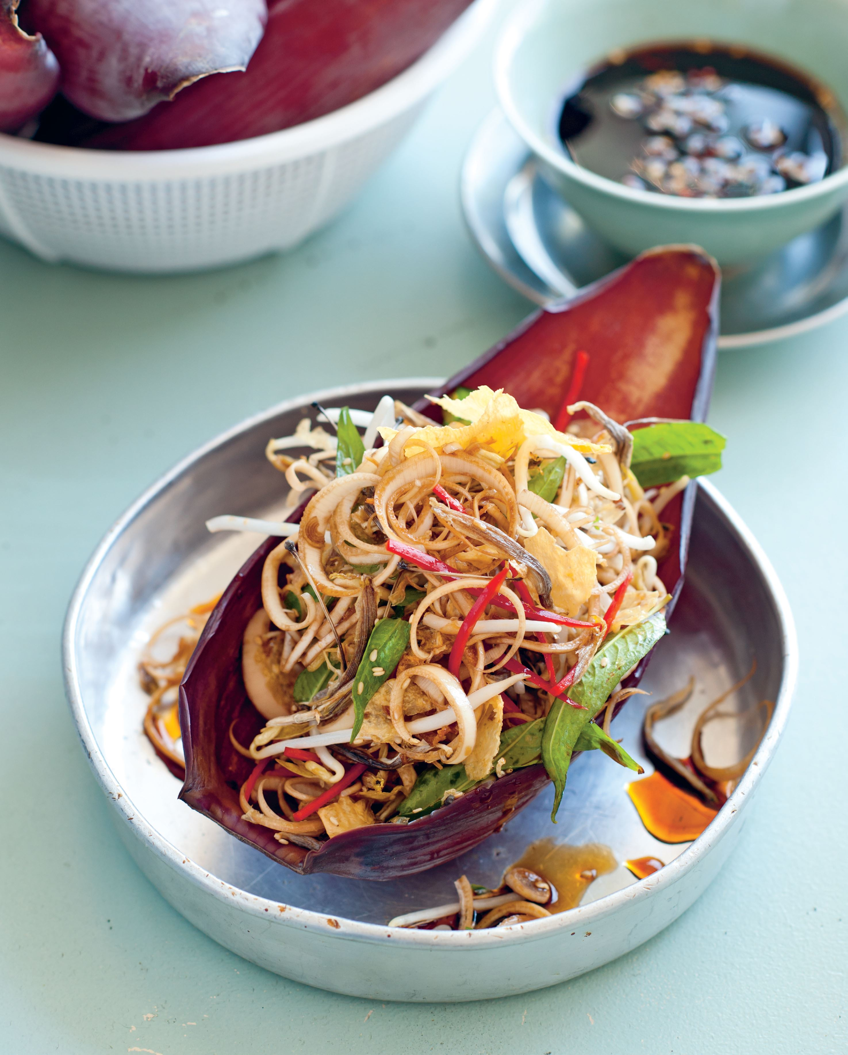Banana blossom salad with tofu skin