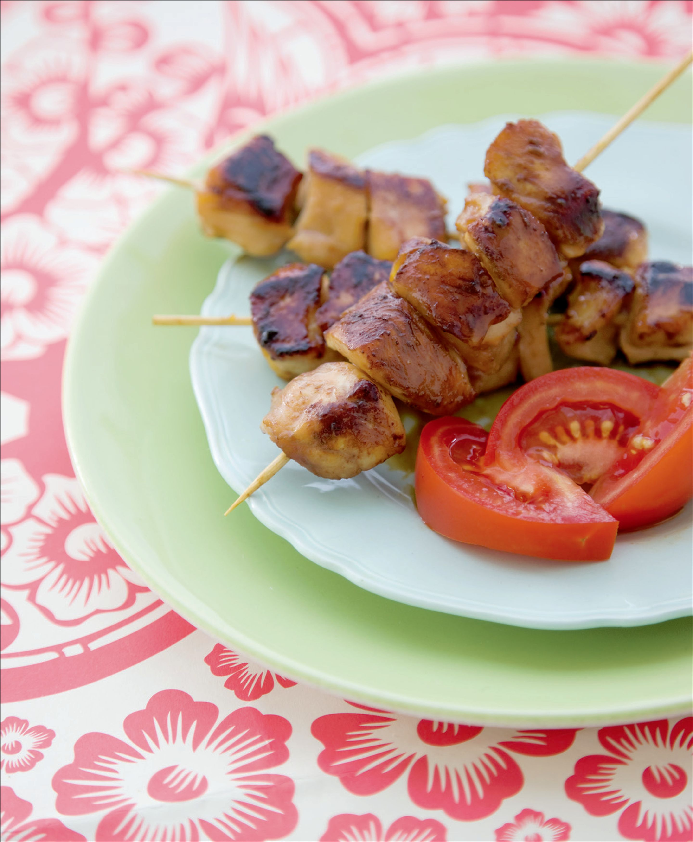 Honey and soy chicken kebabs