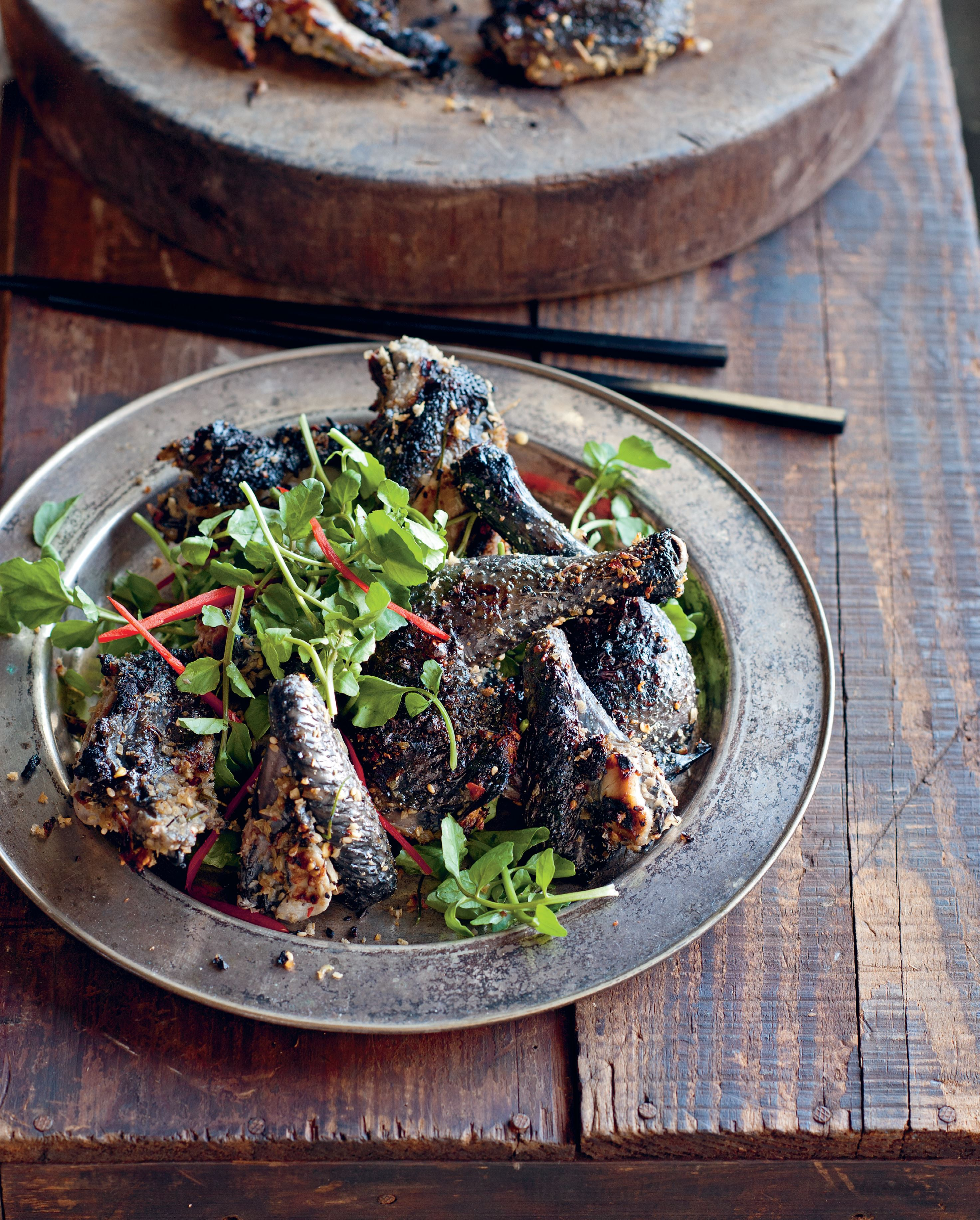 Chargrilled Sapa black chicken in galangal