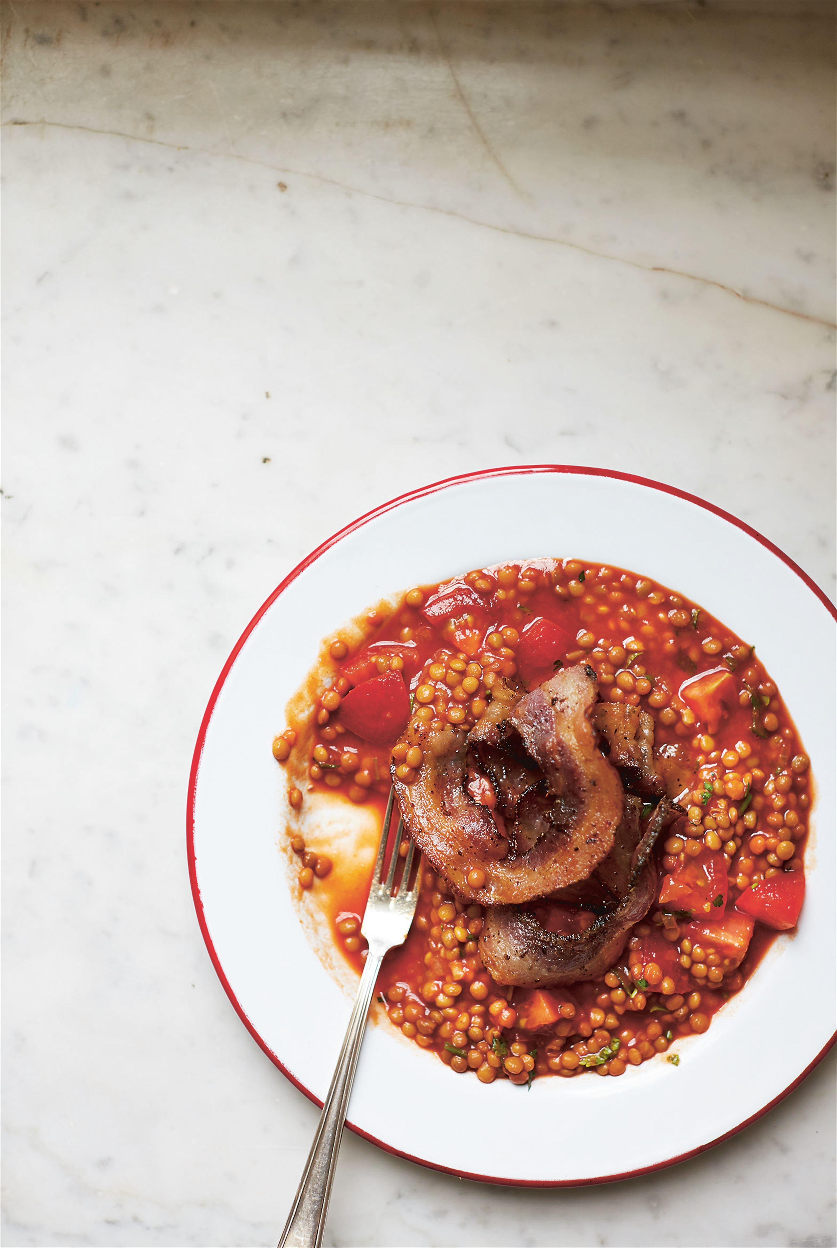 Lentils with pancetta