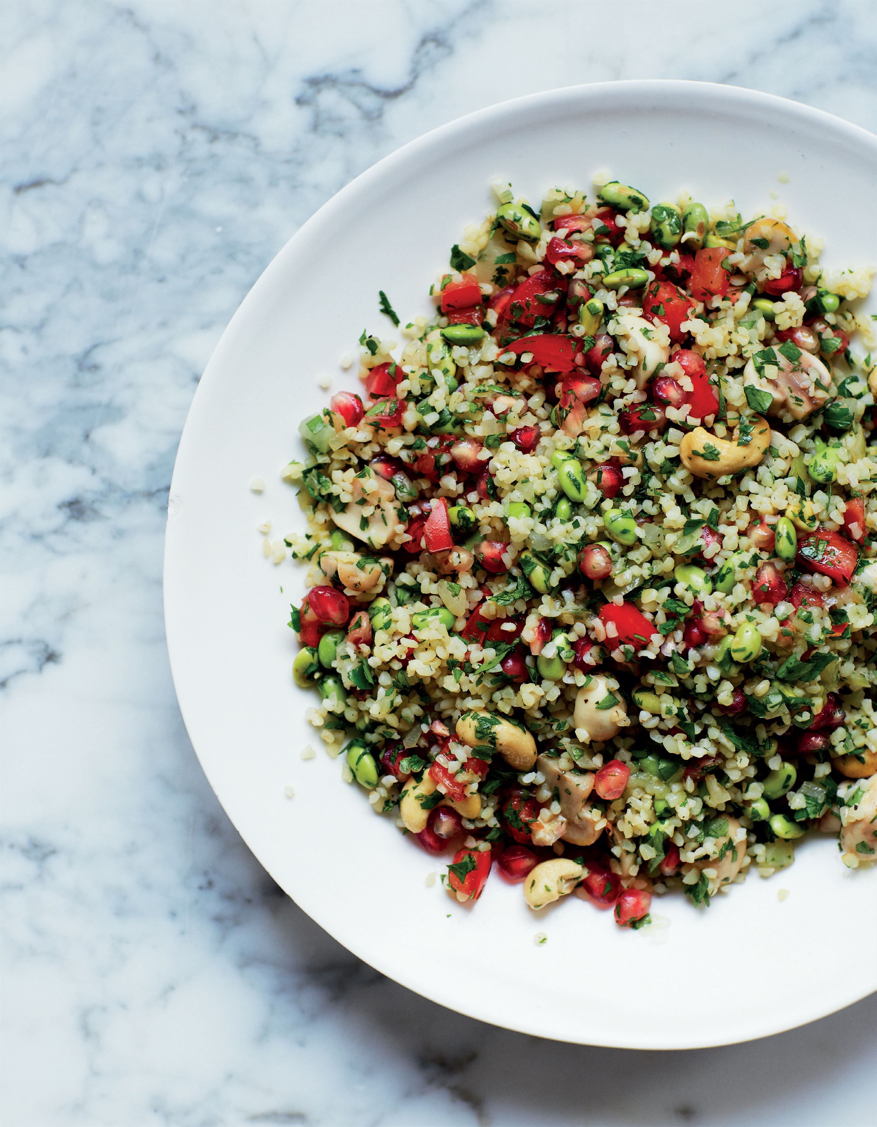 Tabbouleh with edamame and pomegranate