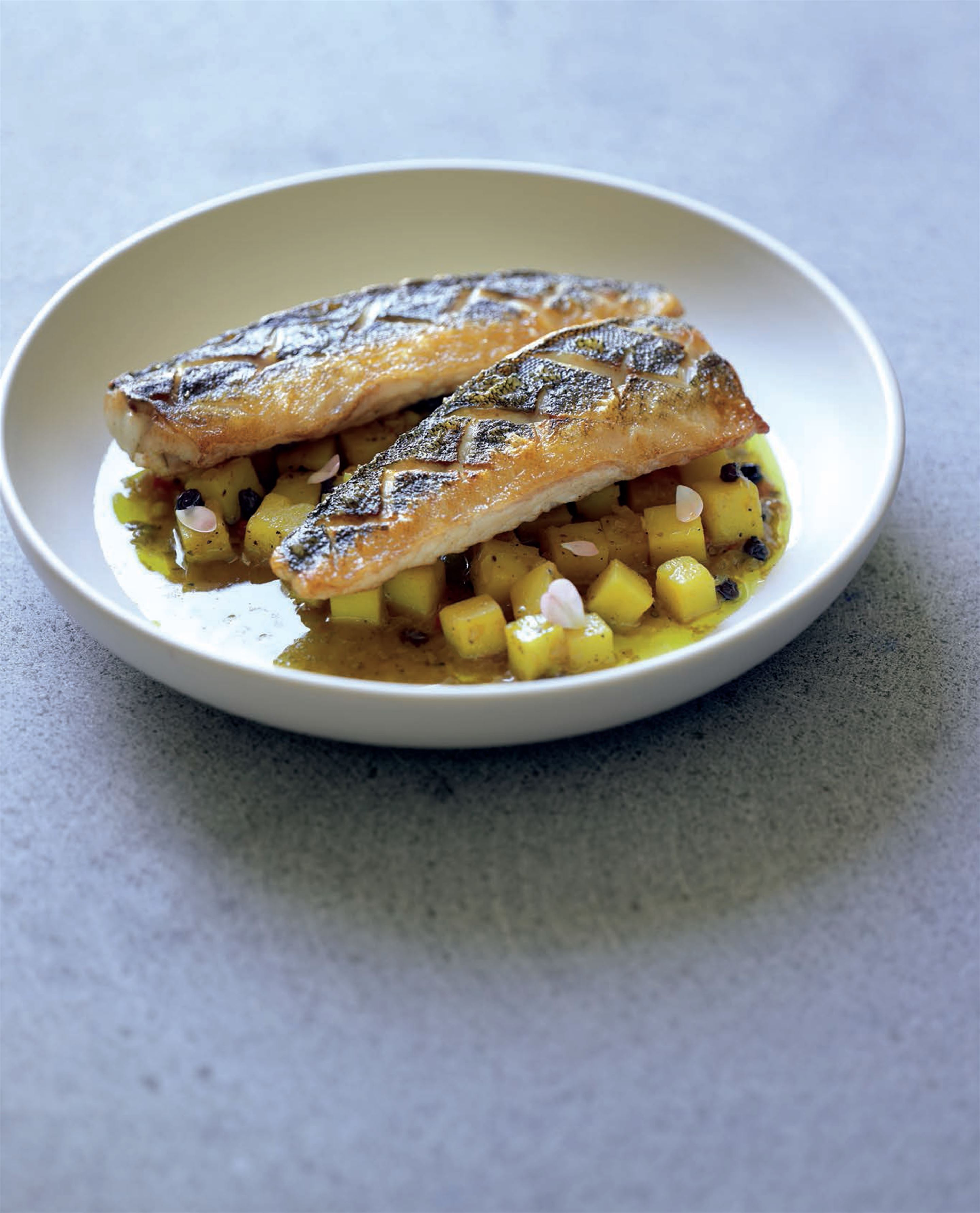 Persian gulf-style fish with saffron-lemon potatoes
