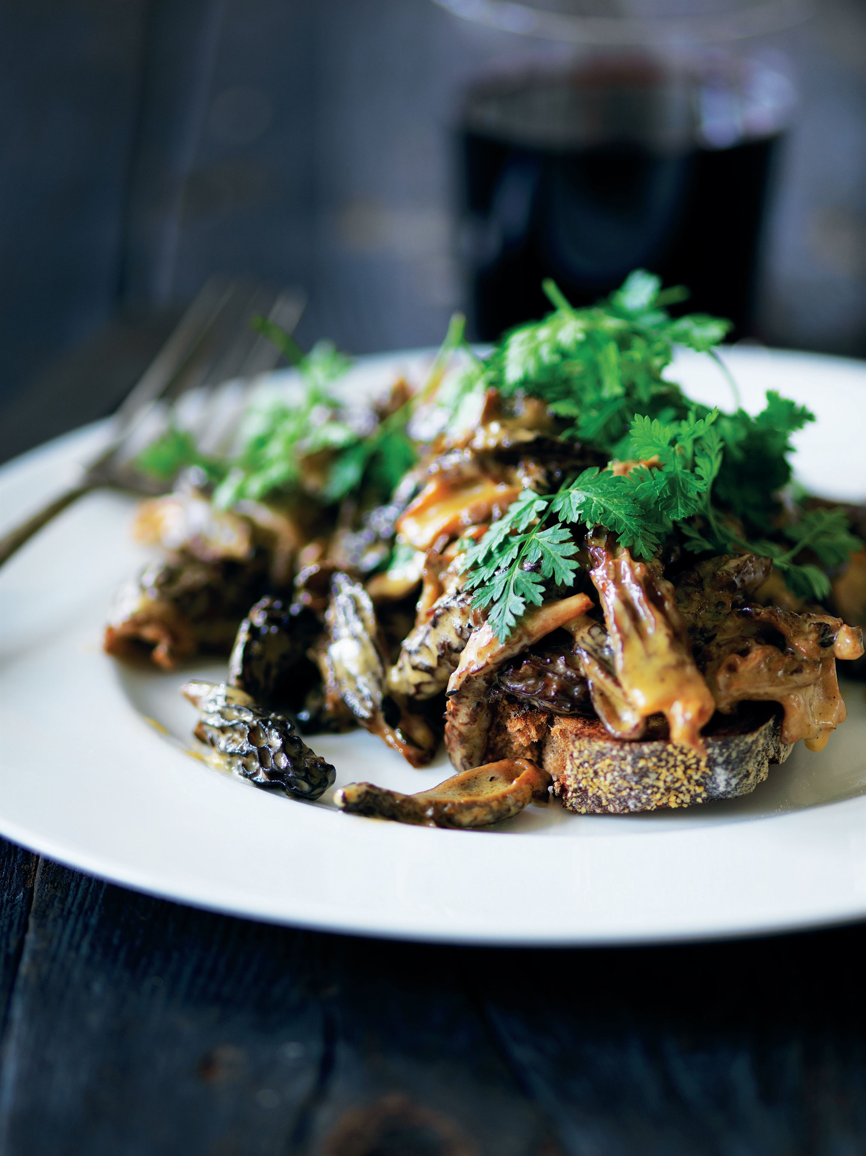 Morels on toast