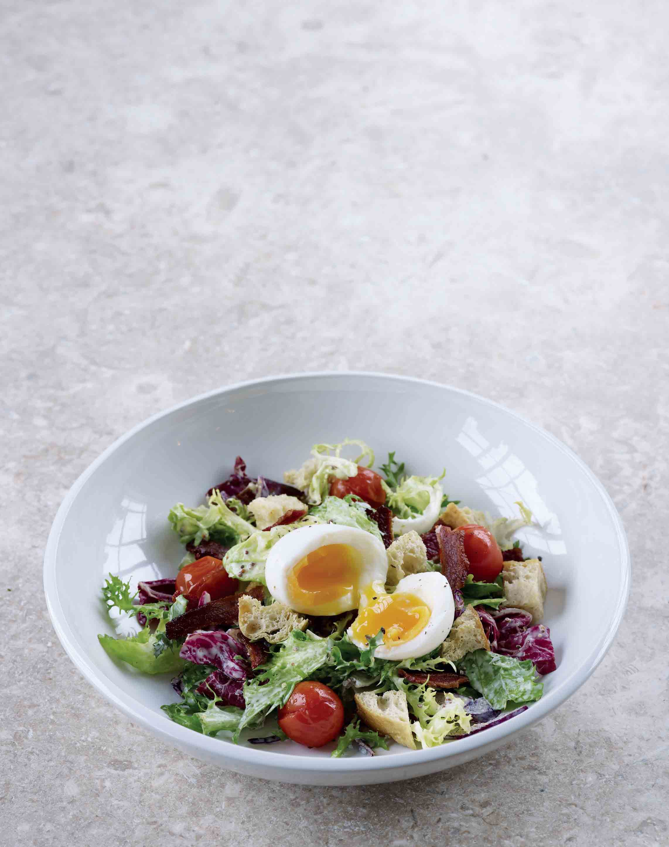 BLT salad with soft-boiled eggs