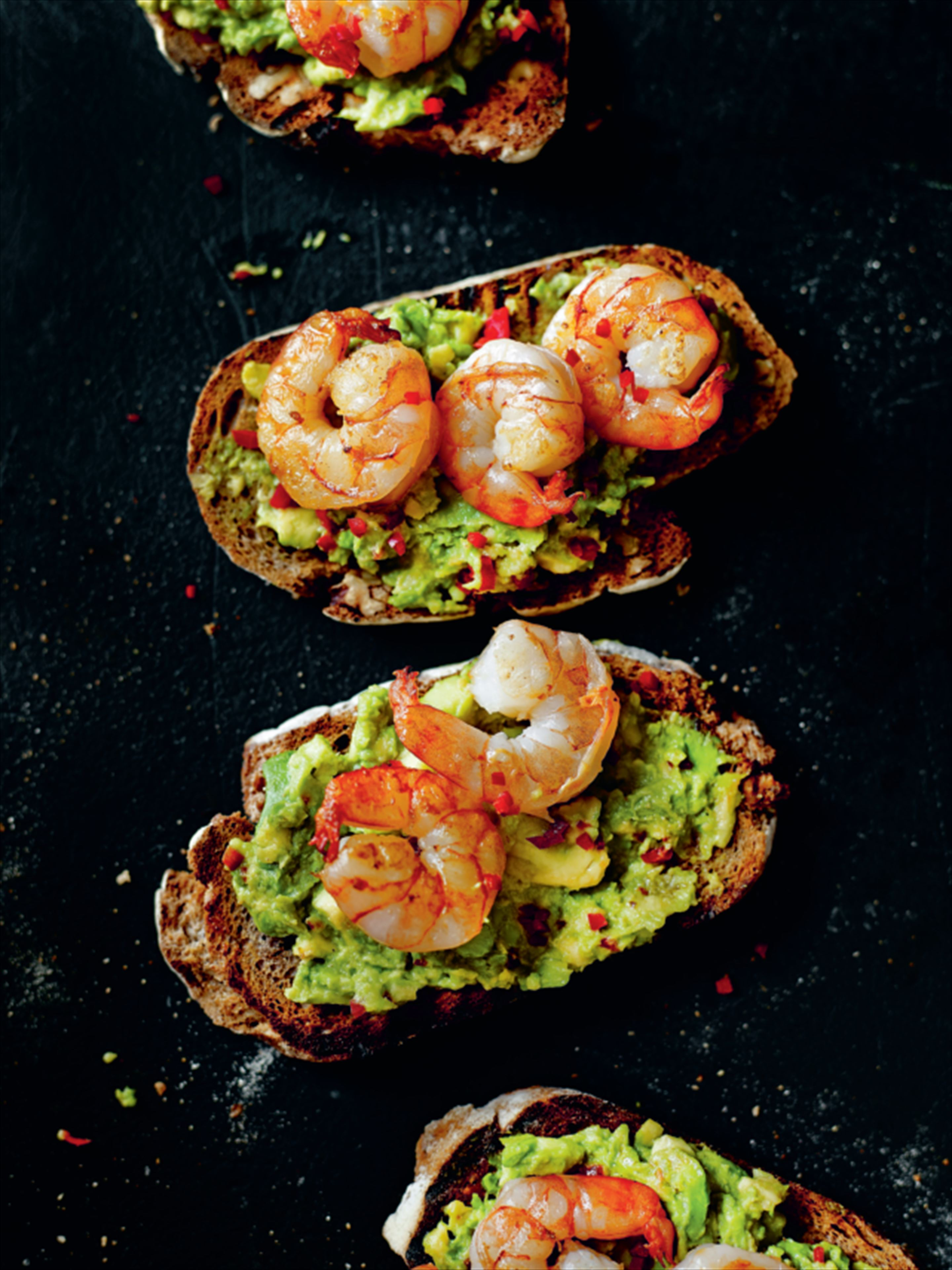 King prawn and guacamole open sandwich