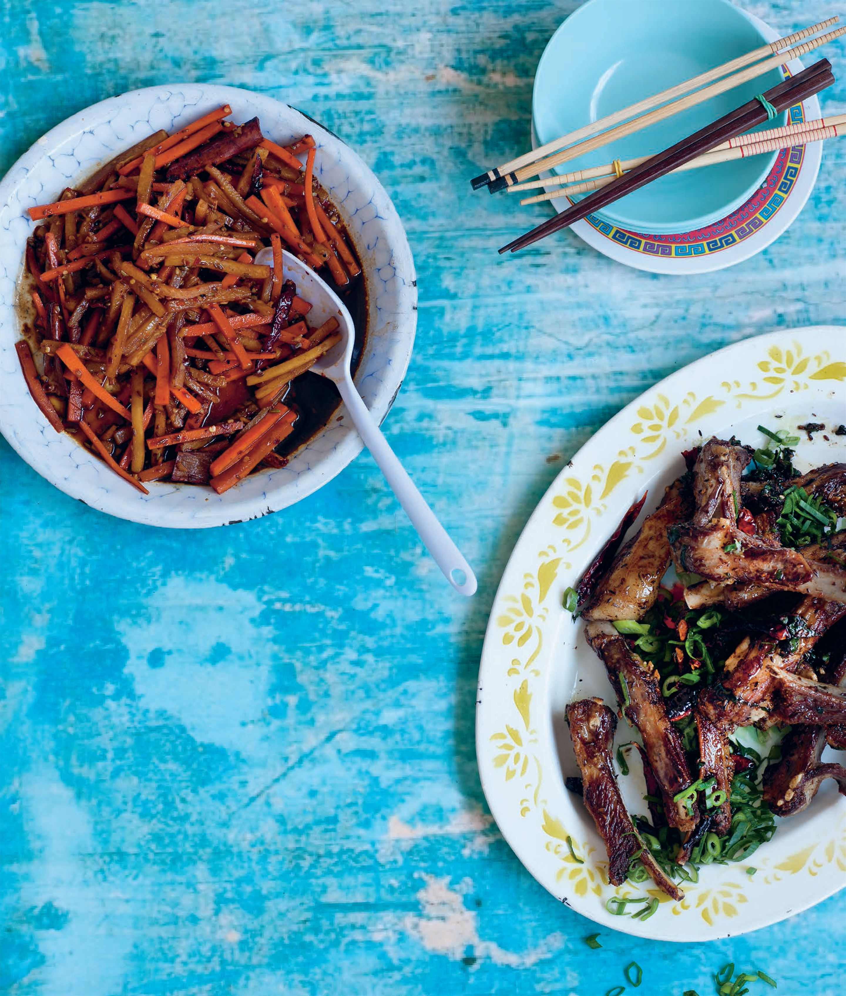 Crisp lamb ribs with cumin, spring onions and chillies