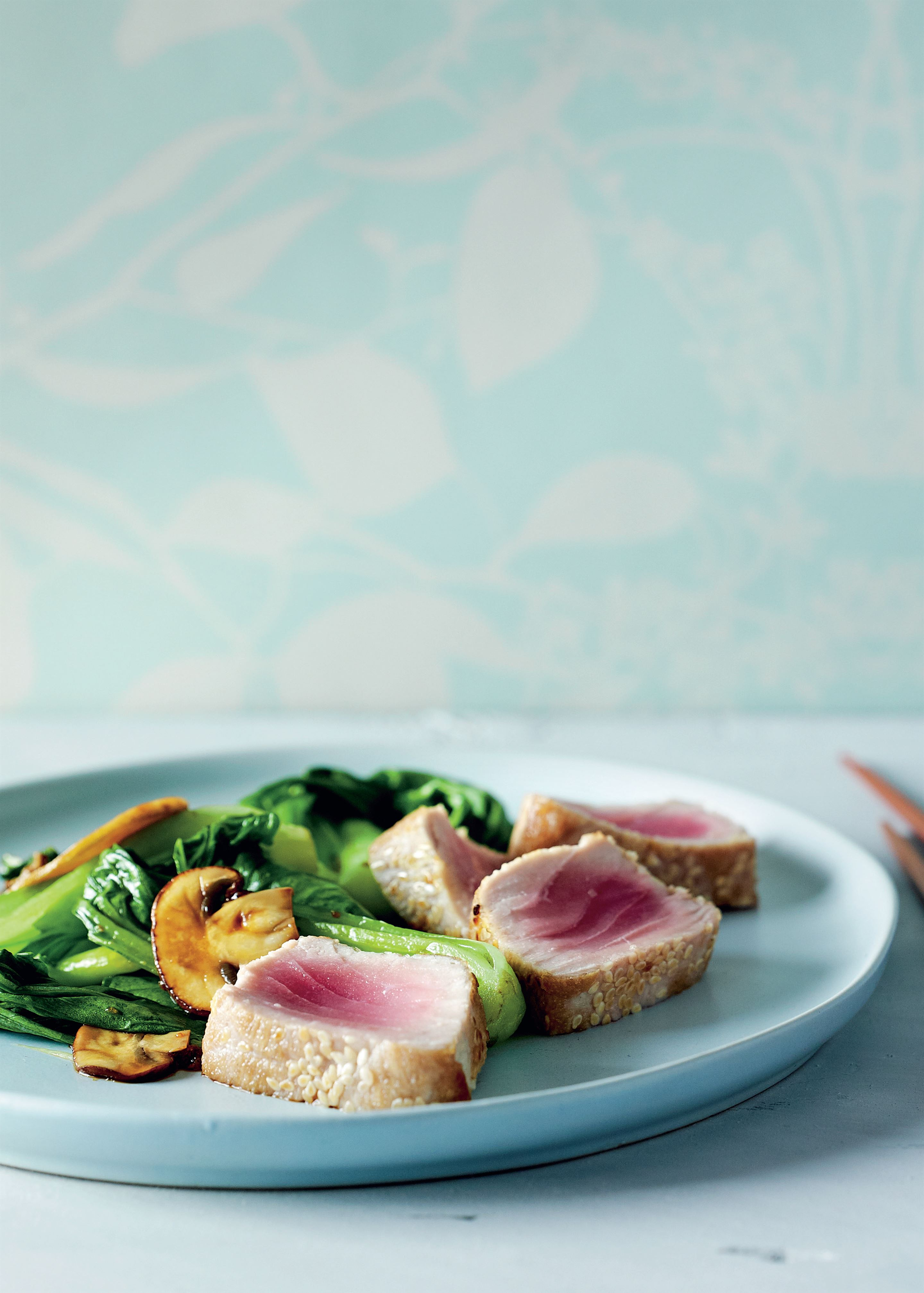 Seared tuna with stir-fried Asian greens