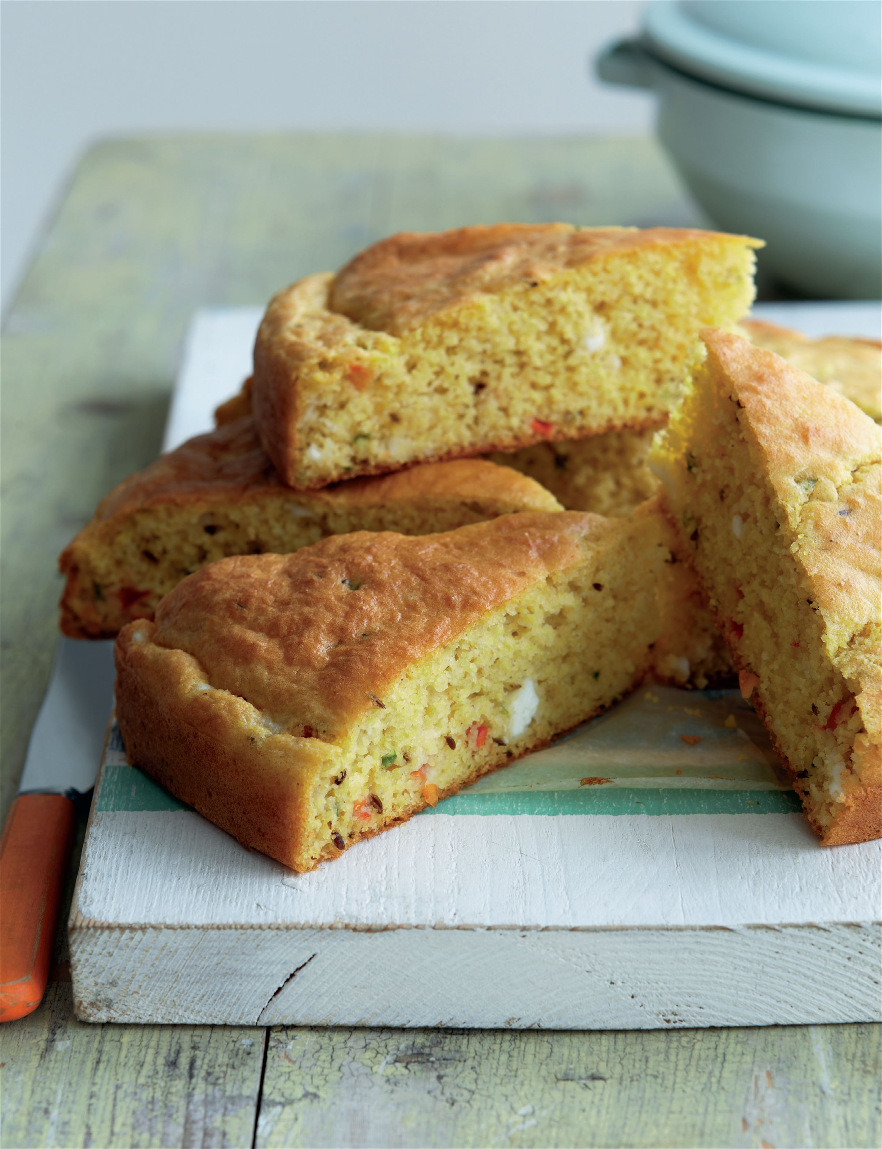 Spiced pepper and feta cornbread
