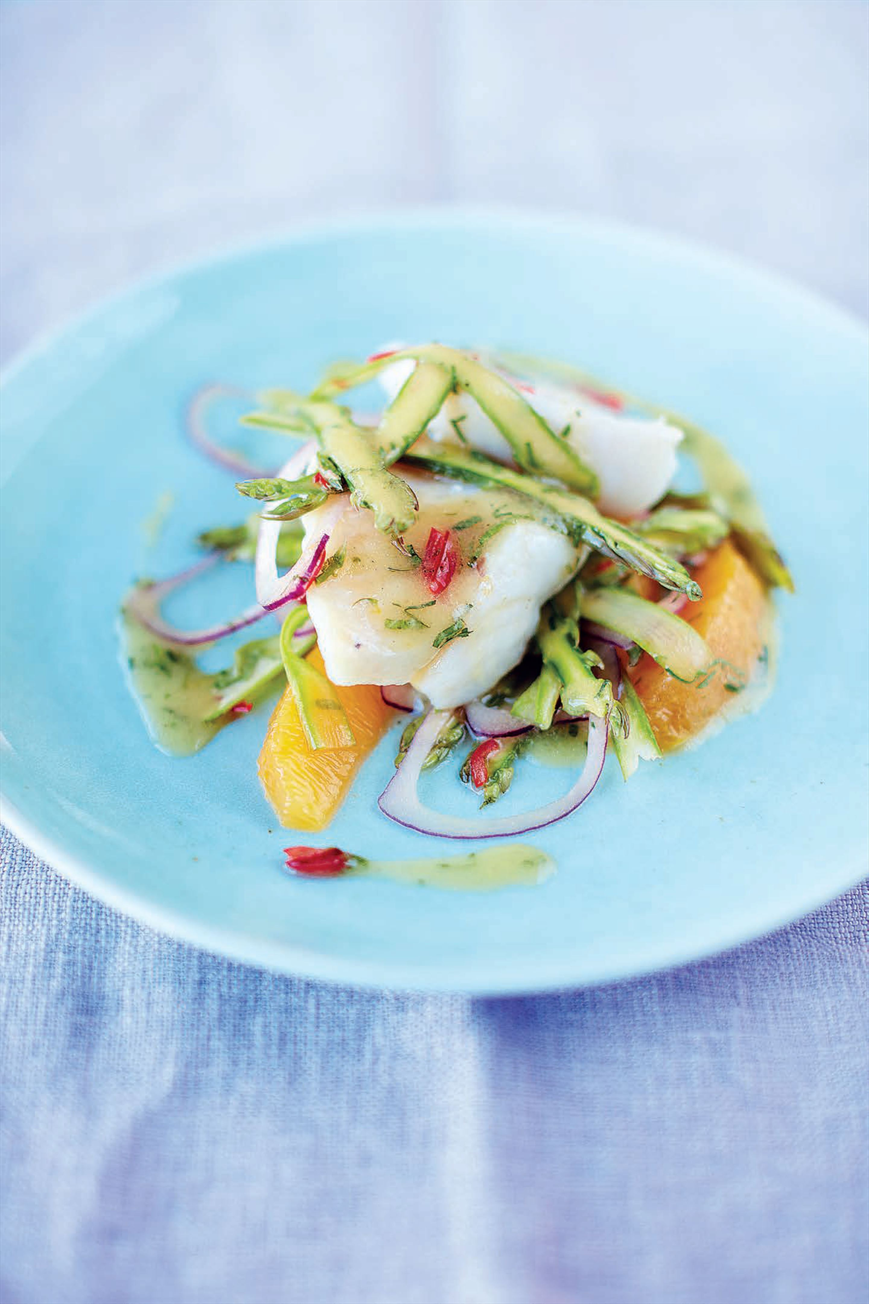 John Dory, shaved asparagus, chilli and orange salad