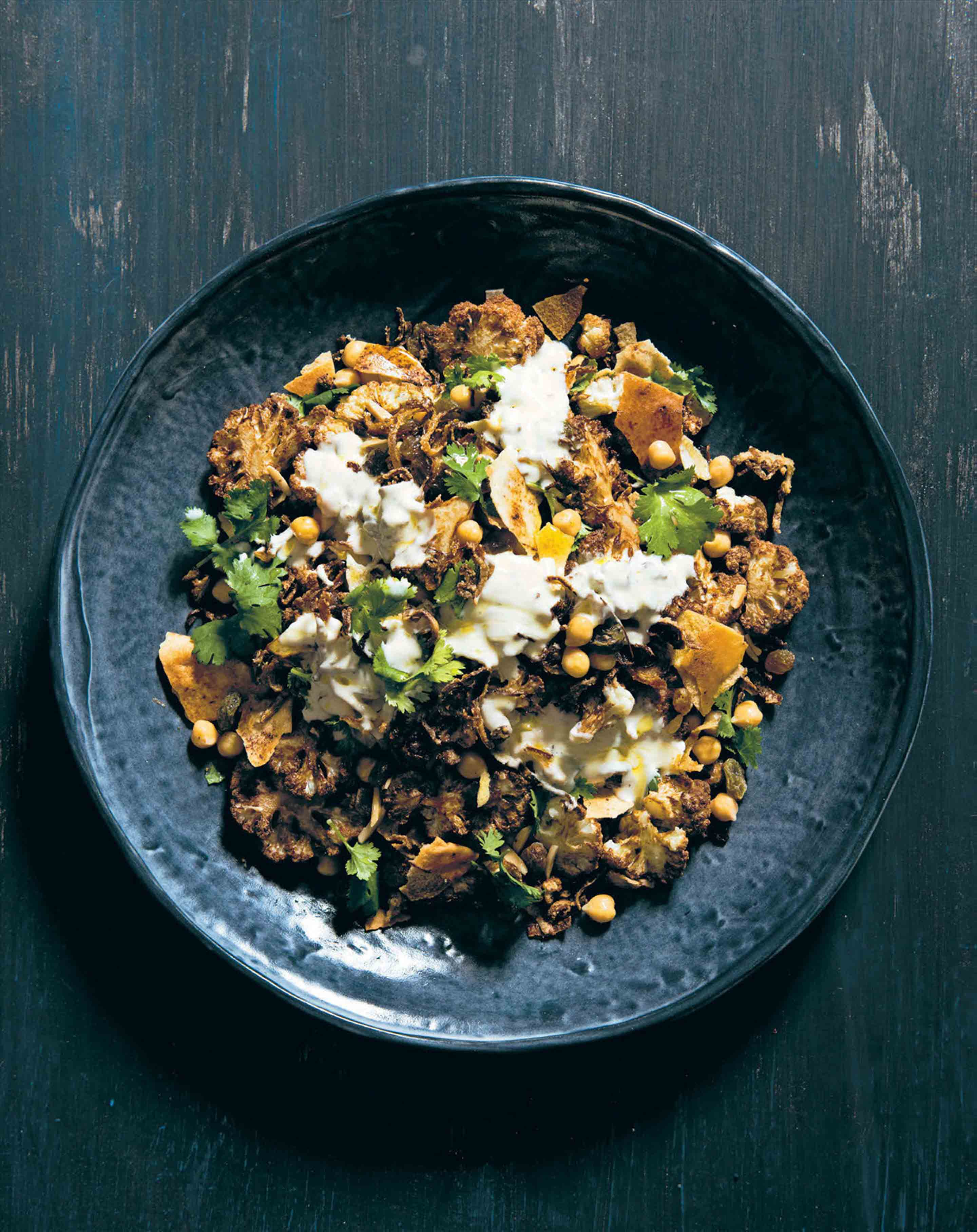 Cauliflower & chickpea salad with almonds, fried onion & sultanas