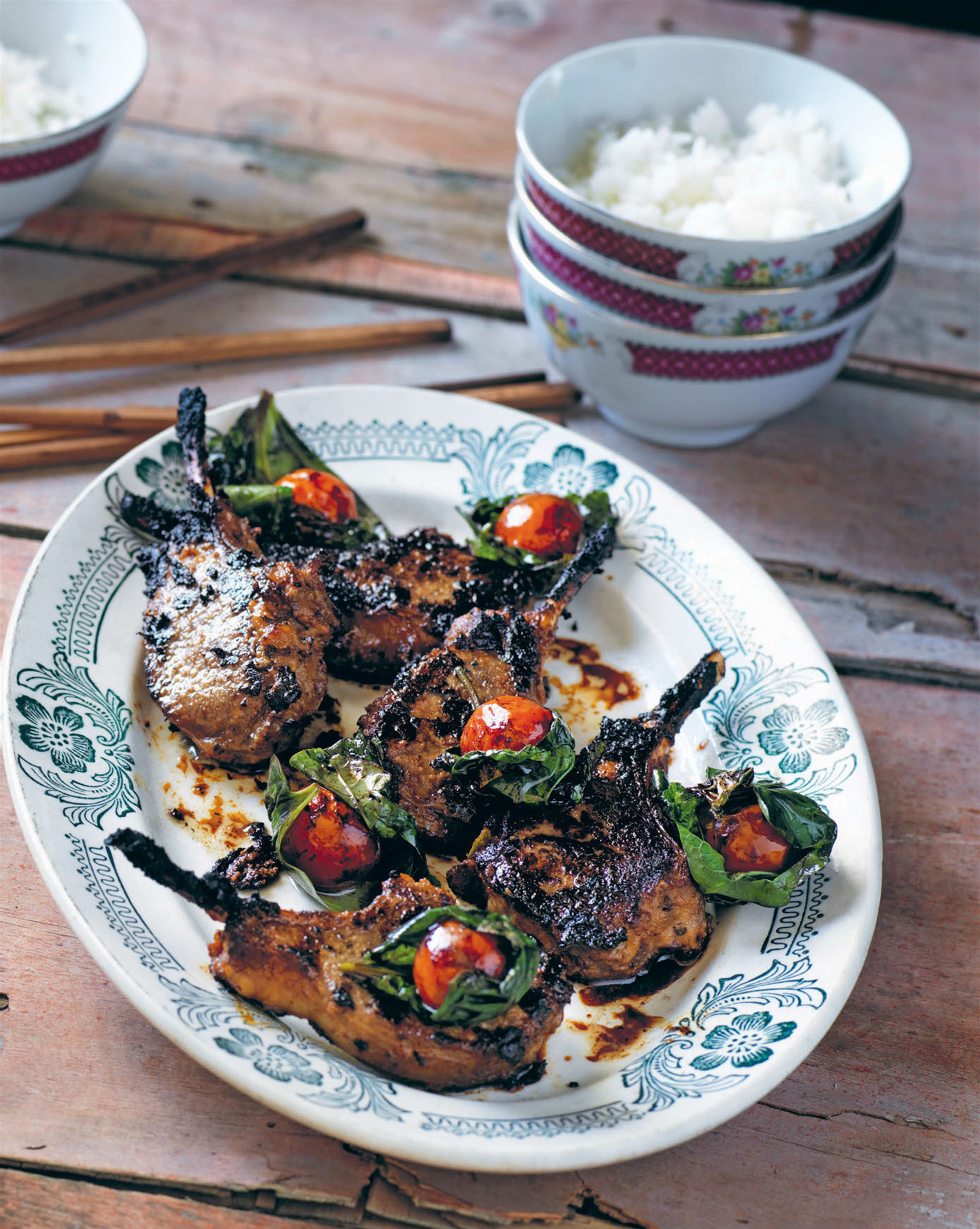 Lamb cutlets cooked in Vietnamese miso
