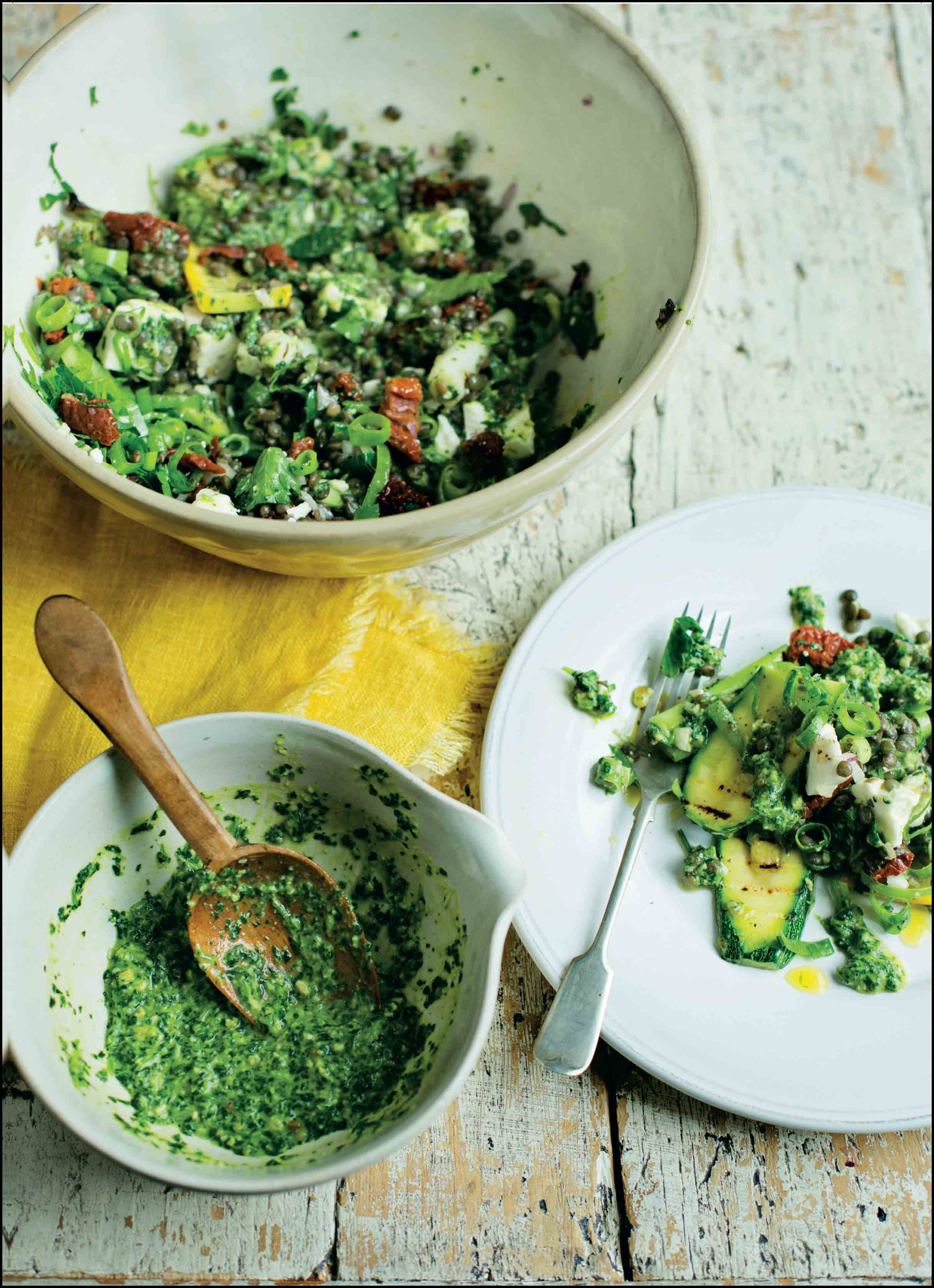 Puy lentil salad with sun-dried tomatoes, feta and watercress pesto