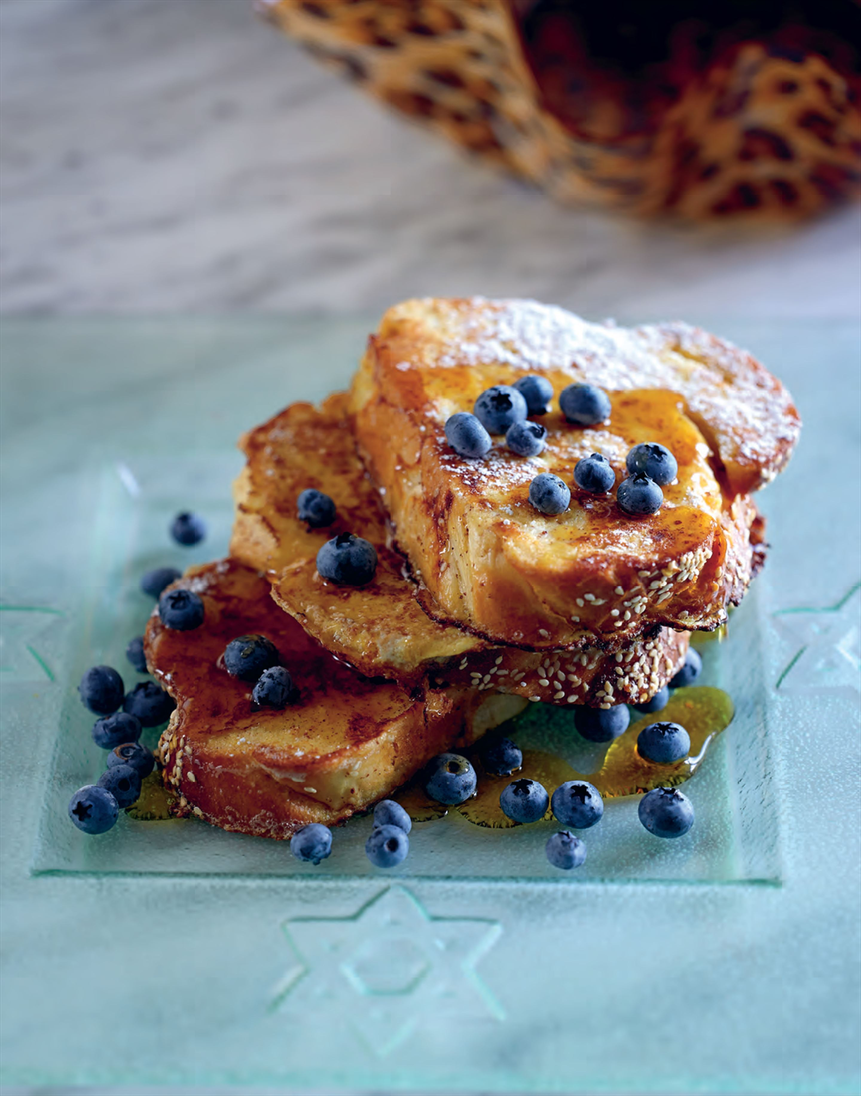 French toast challah with maple syrup and blueberries