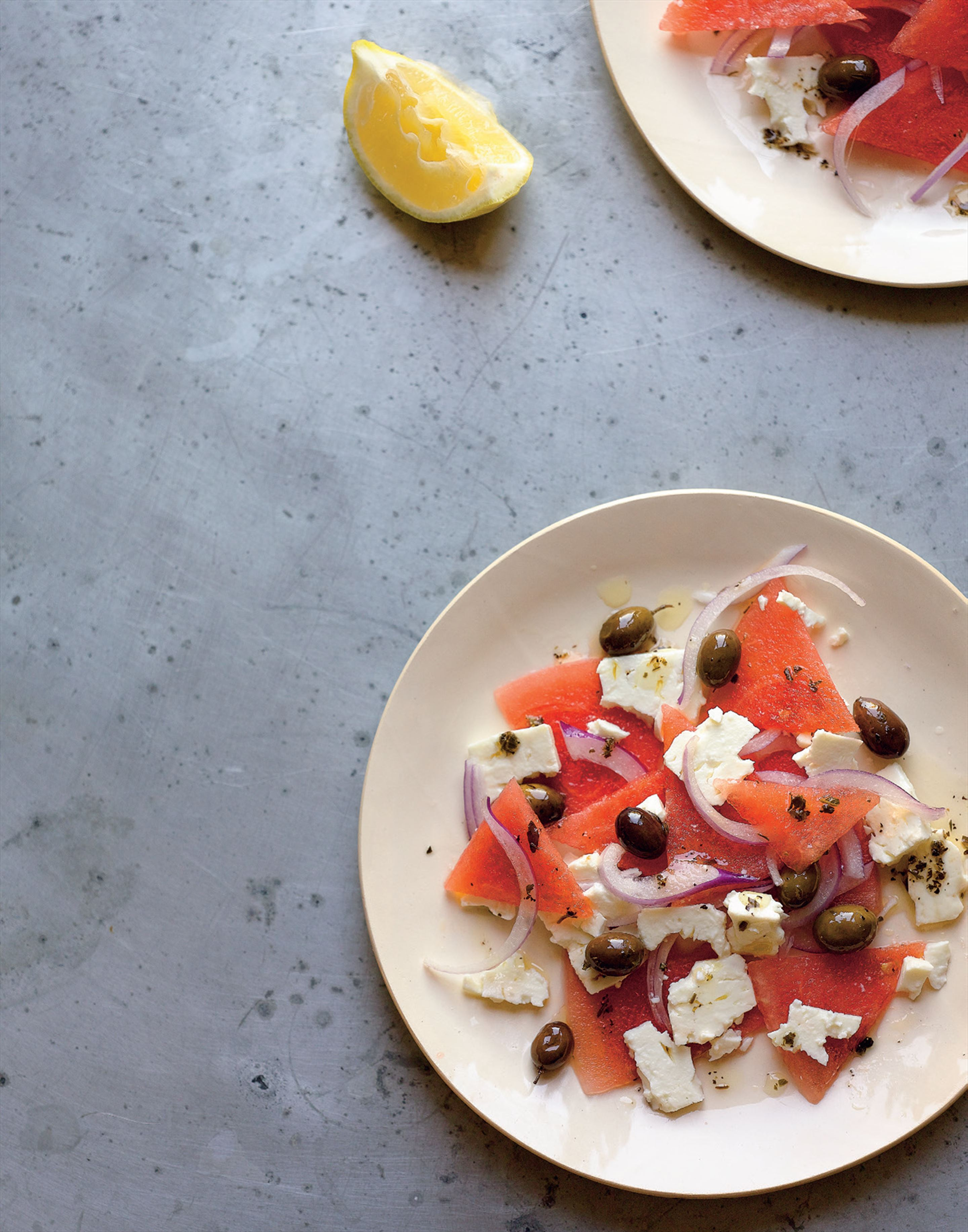Feta, watermelon, red onion and black olives