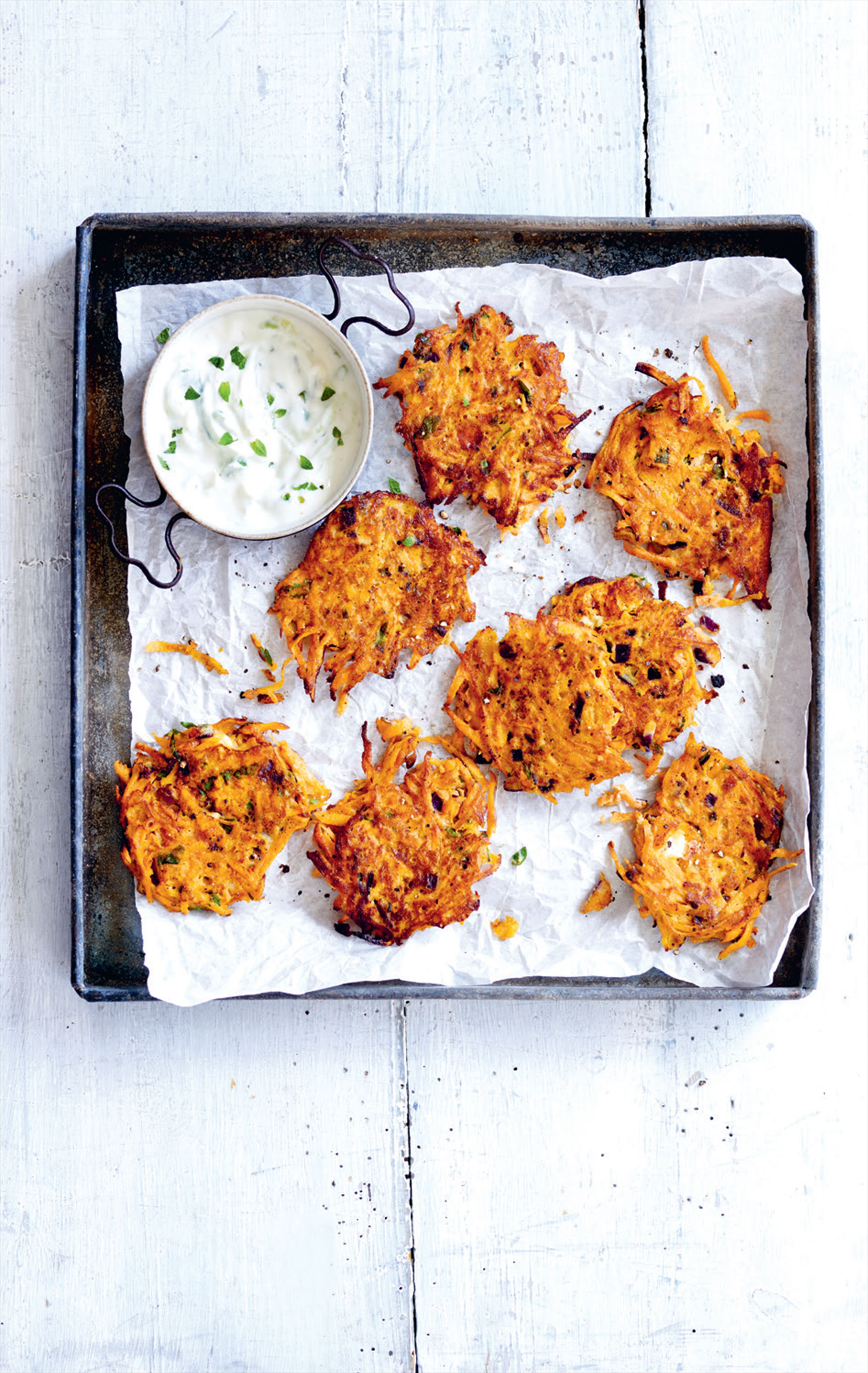 Carrot, sweet potato and feta fritters with tzatziki