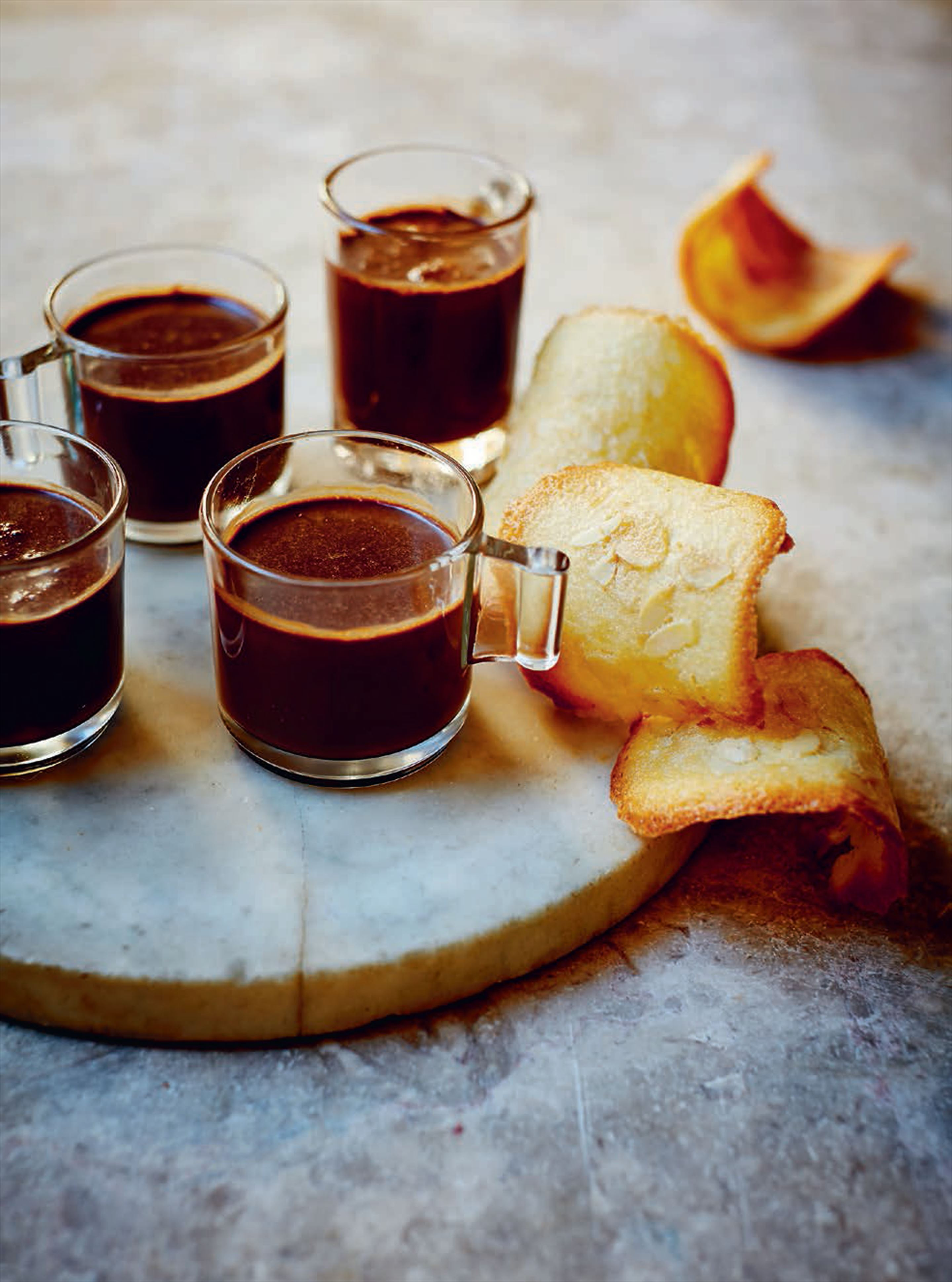 Chocolate pots with tejas de Tolosa